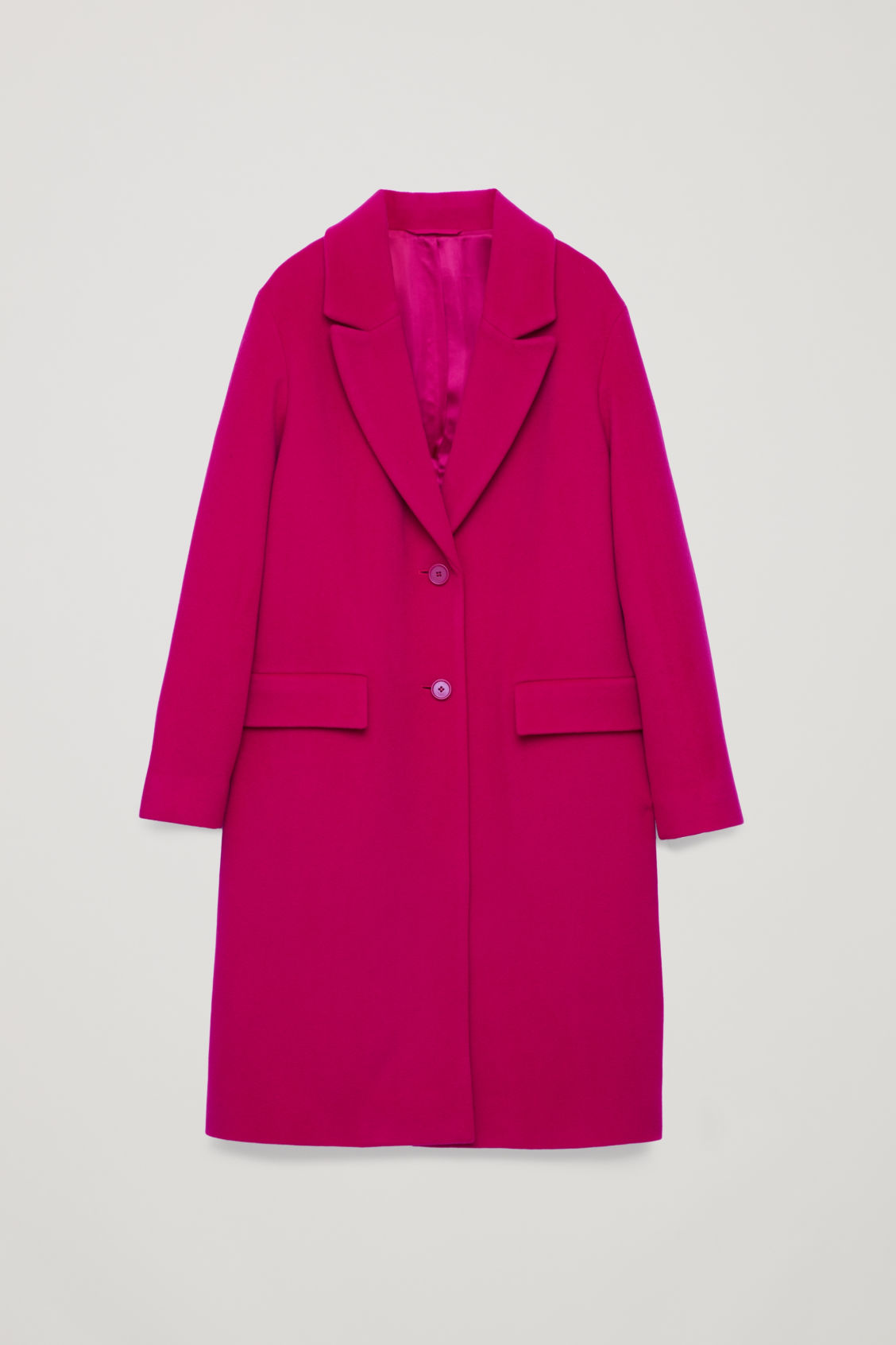 Front image of Cos coat with oversized lapels in pink