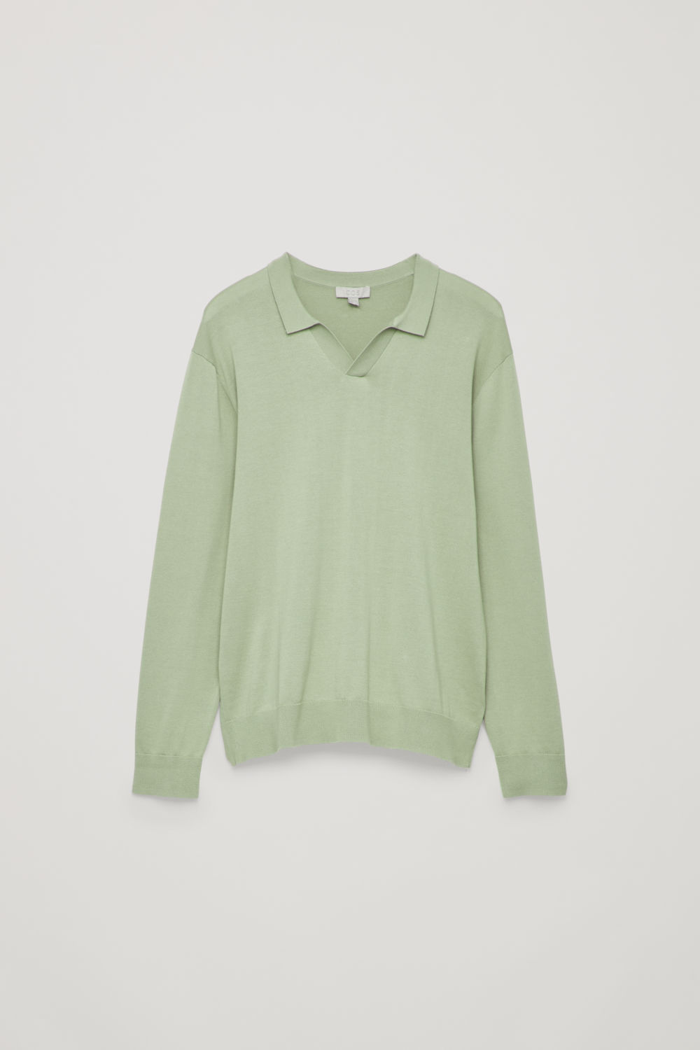 Front image of Cos open-collar knit polo shirt in green