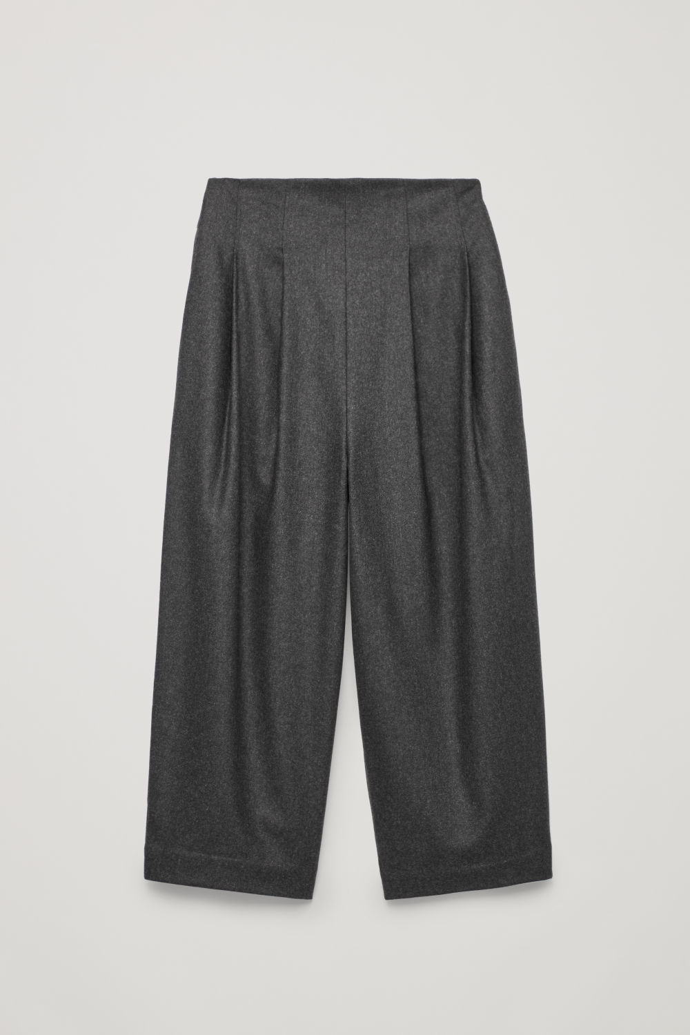Front image of Cos crop pleated wool trousers in grey