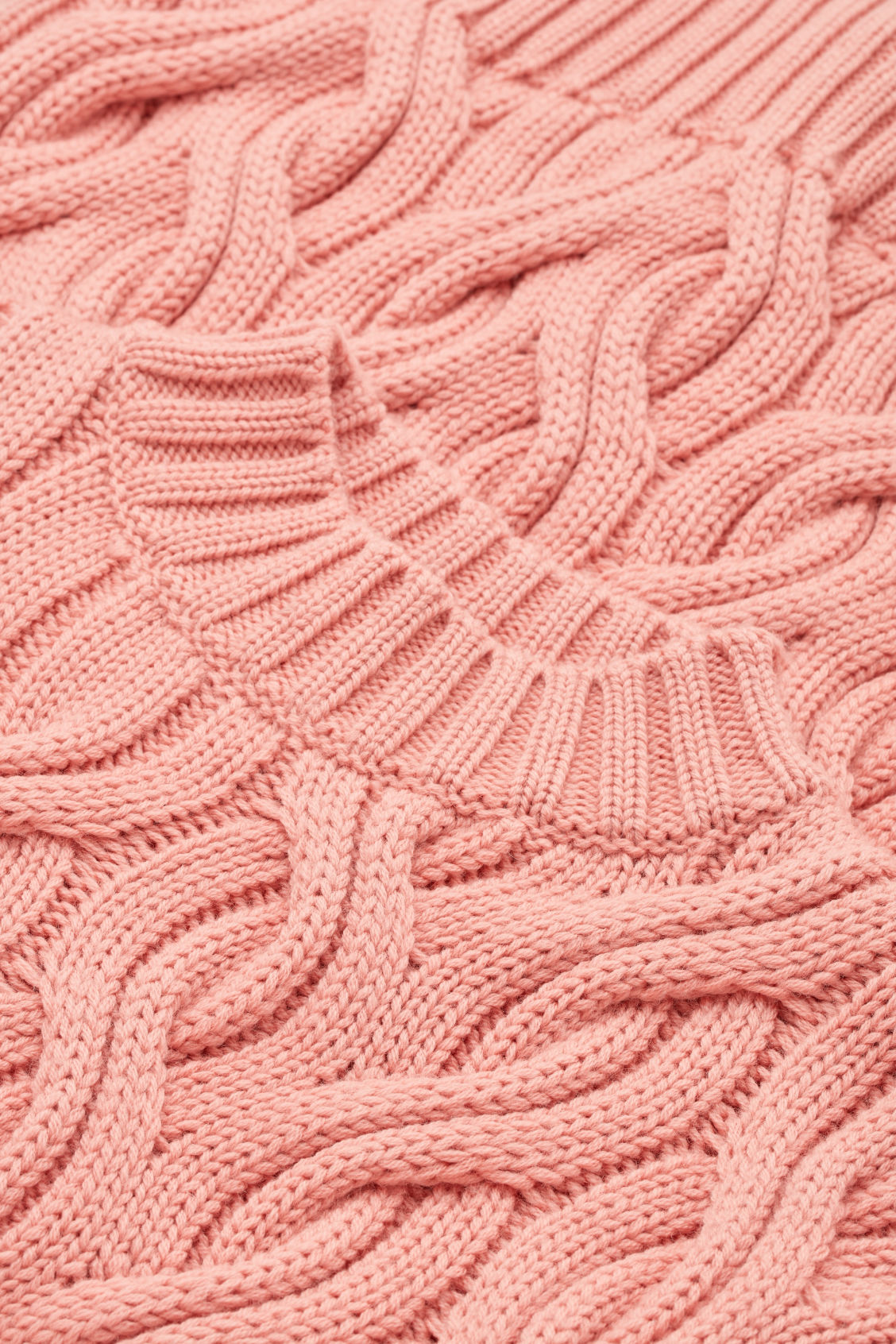 Side image of Cos cable-knit wool jumper in pink