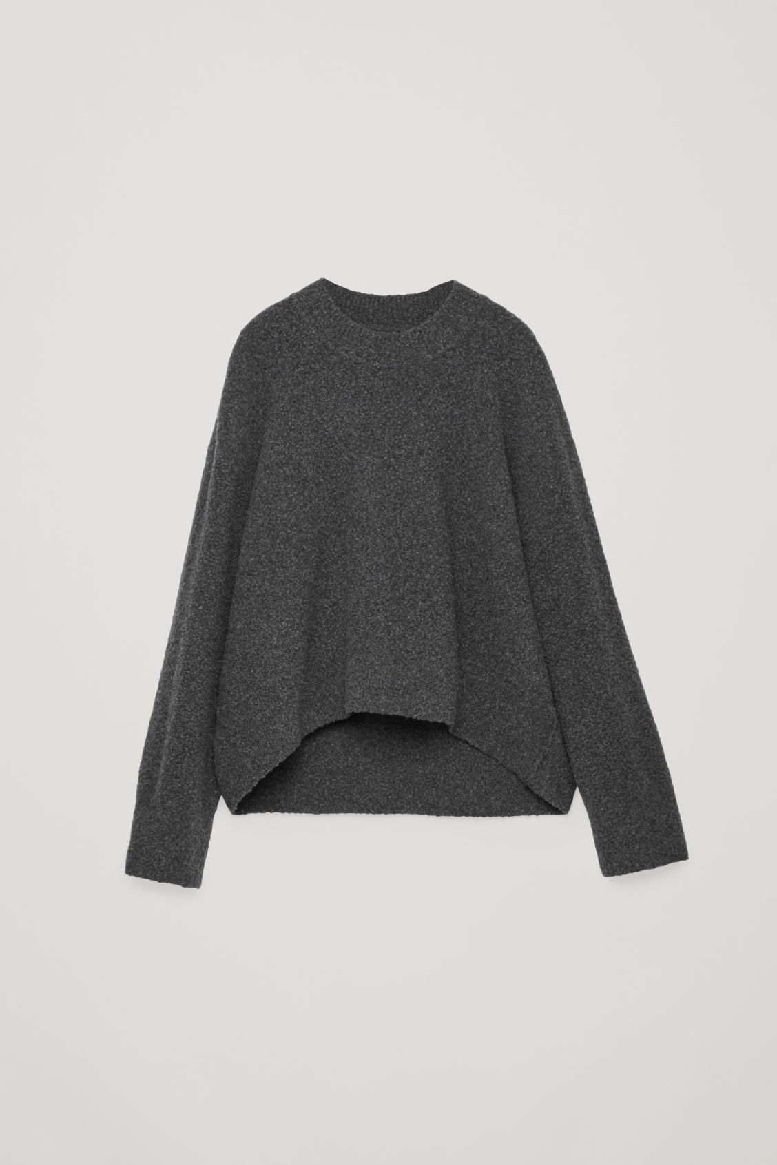 Front image of Cos oversized wool-boucle jumper in grey