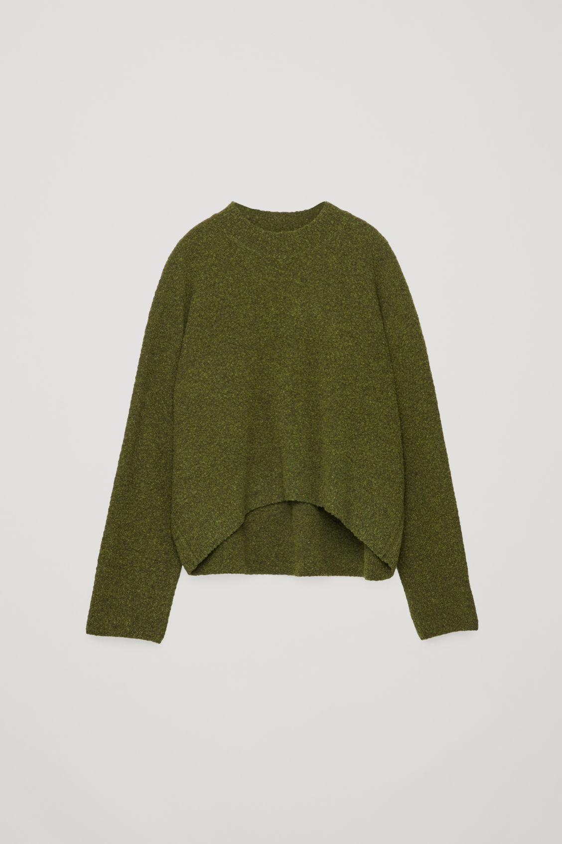 Front image of Cos oversized wool-boucle jumper in green