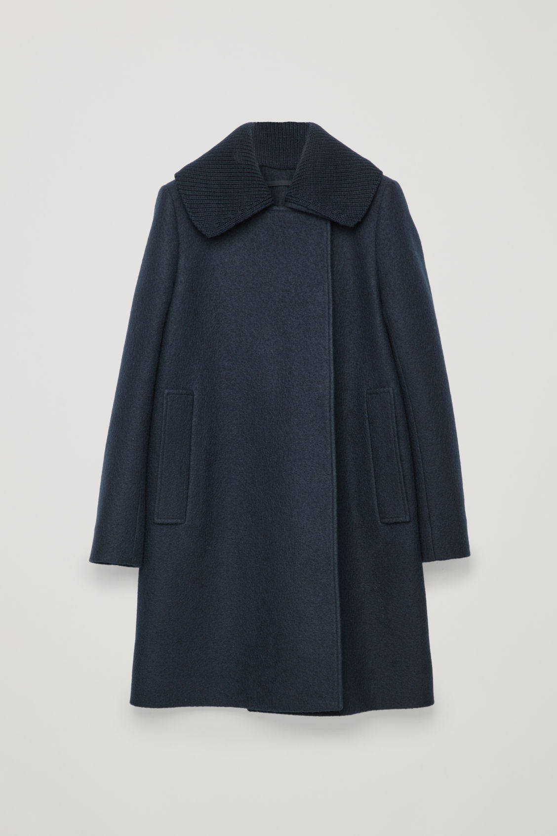 Front image of Cos knitted-collar wool coat  in blue