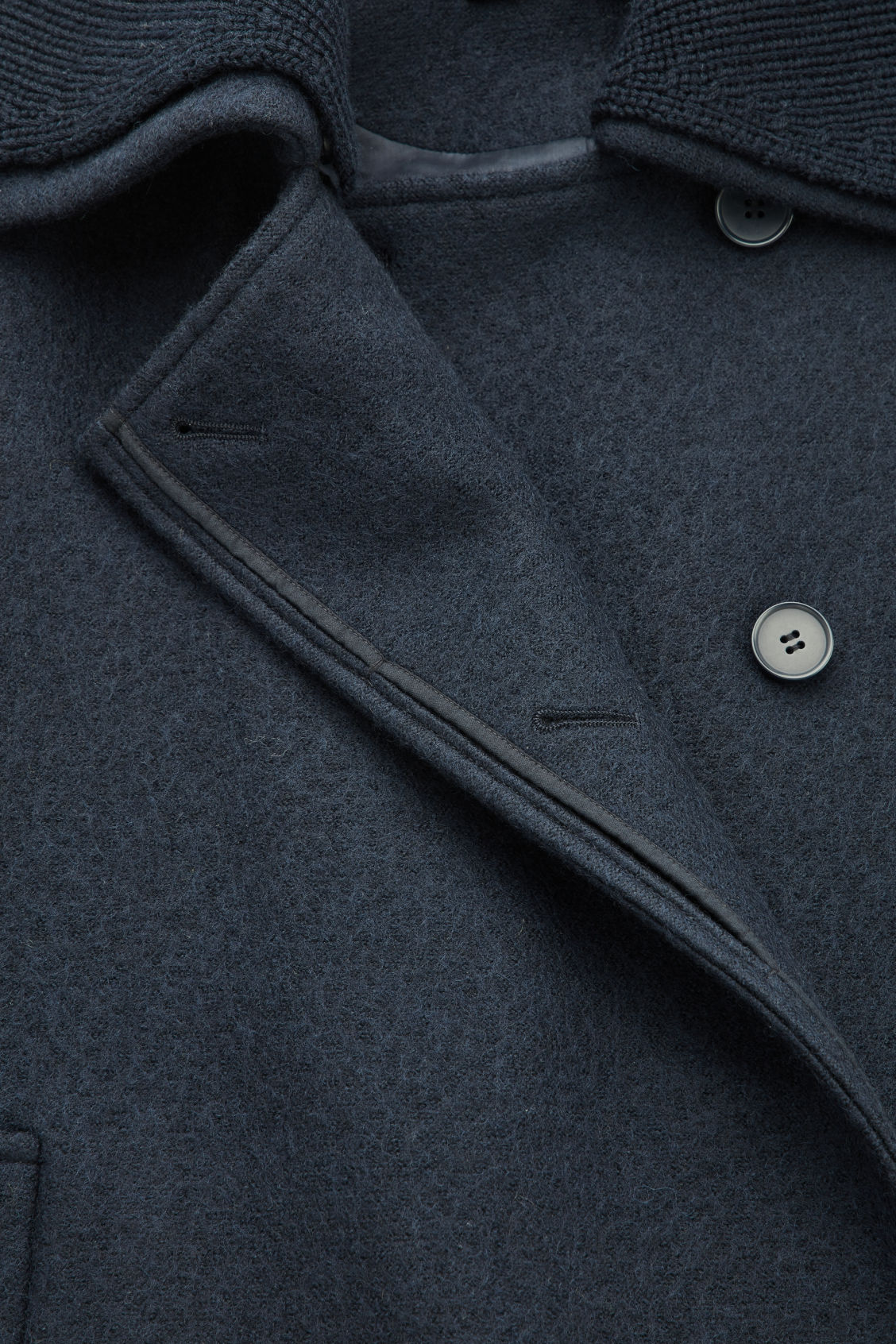 Side image of Cos knitted-collar wool coat  in blue