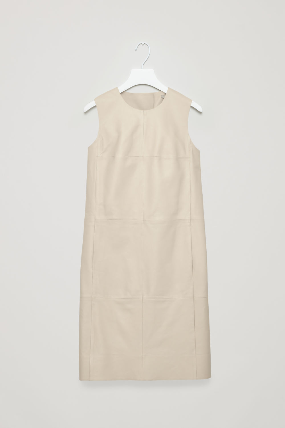 PANELLED LEATHER A-LINE DRESS