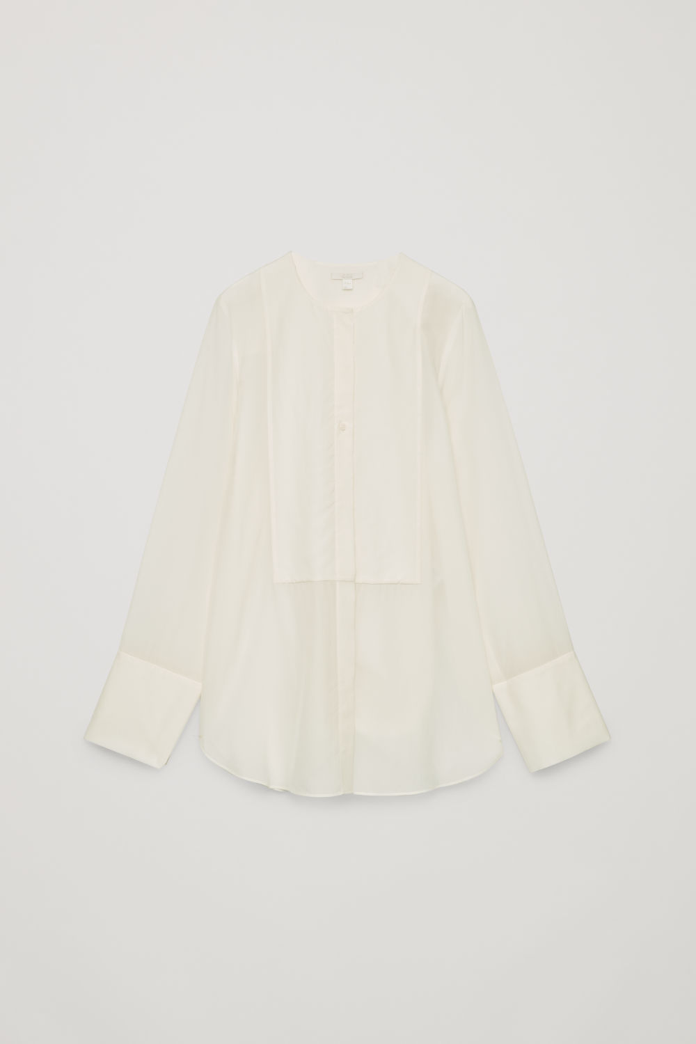 Front image of Cos silk-blend shirt with bib front in neutral