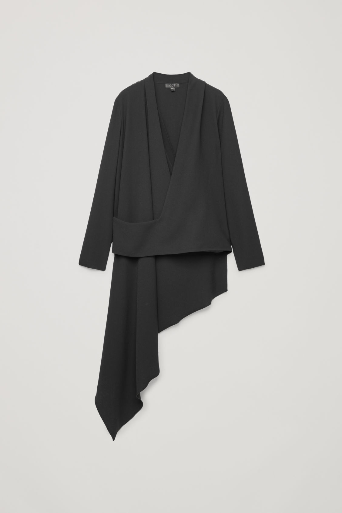 Front image of Cos draped wrap top in black