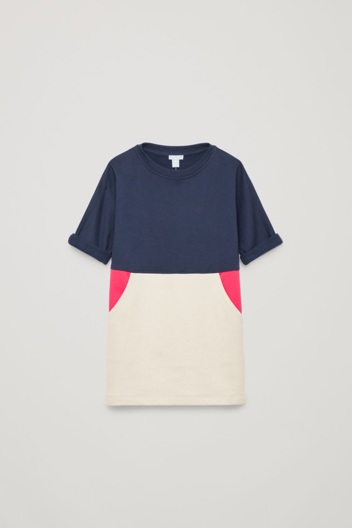Front image of Cos pouch-pocket cotton dress in blue