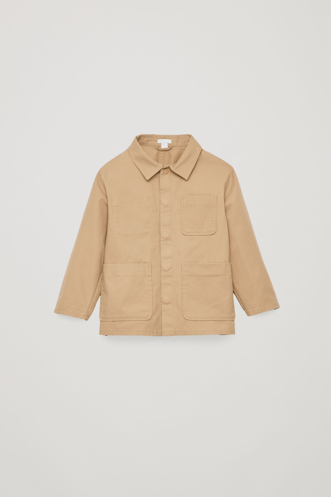 Front image of Cos cotton shirt jacket in brown