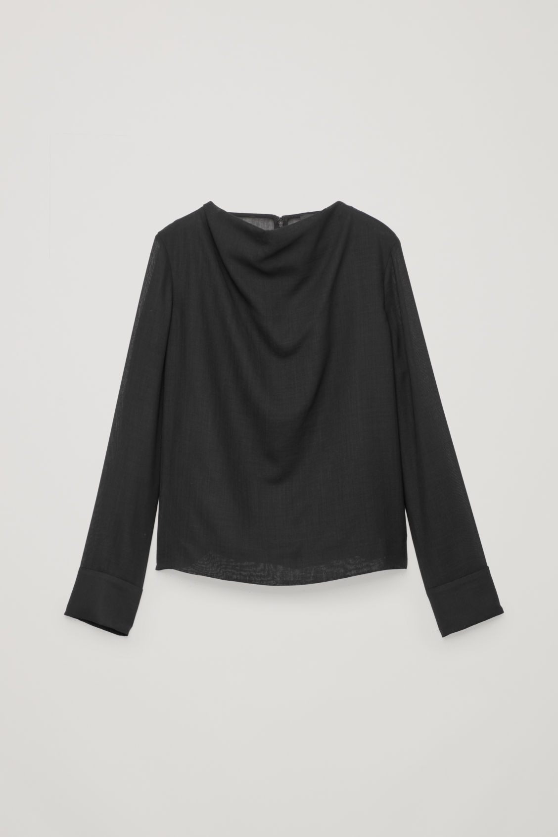 Front image of Cos lightweight wool top in black
