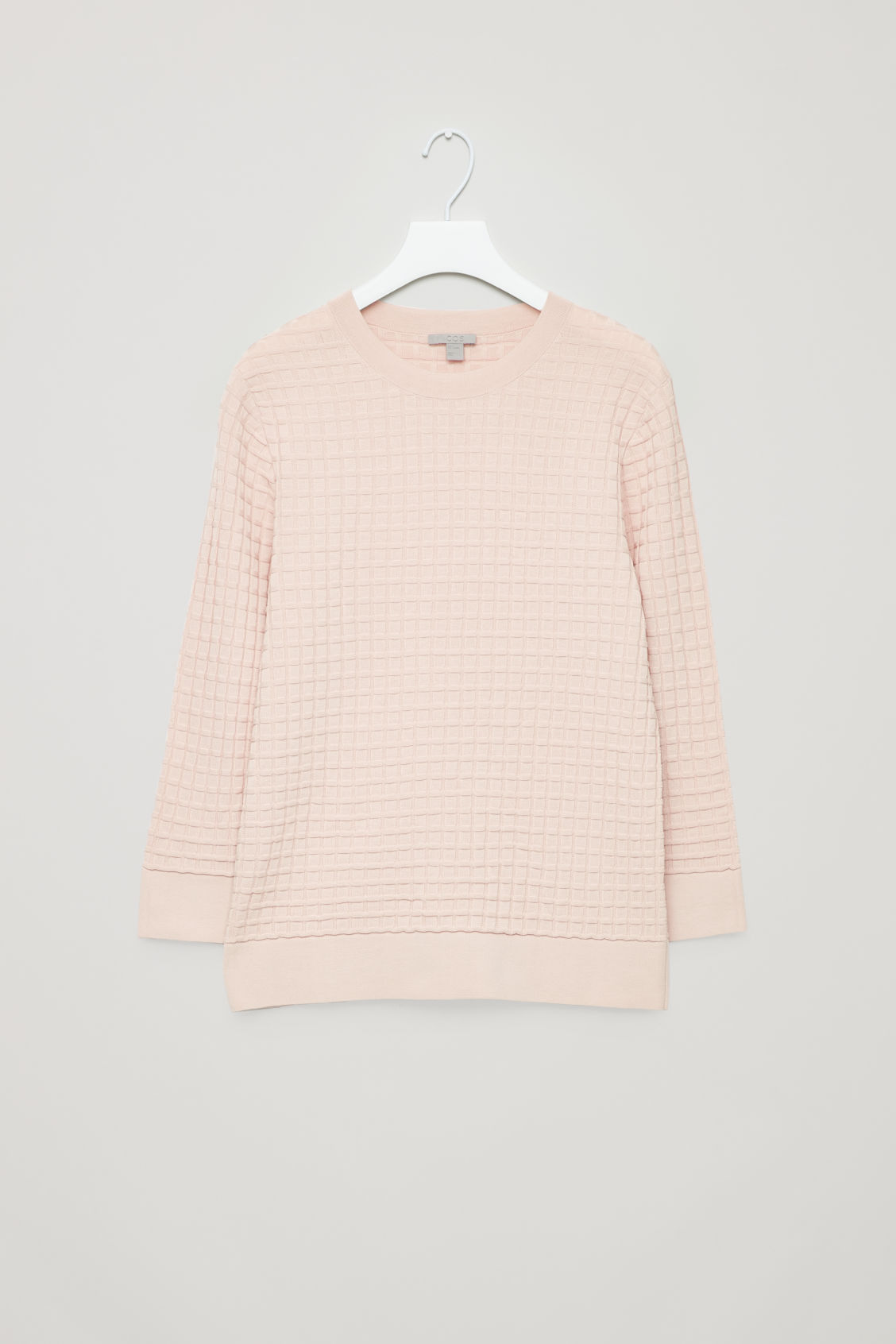 Front image of Cos waffle-stitch cotton jumper  in pink