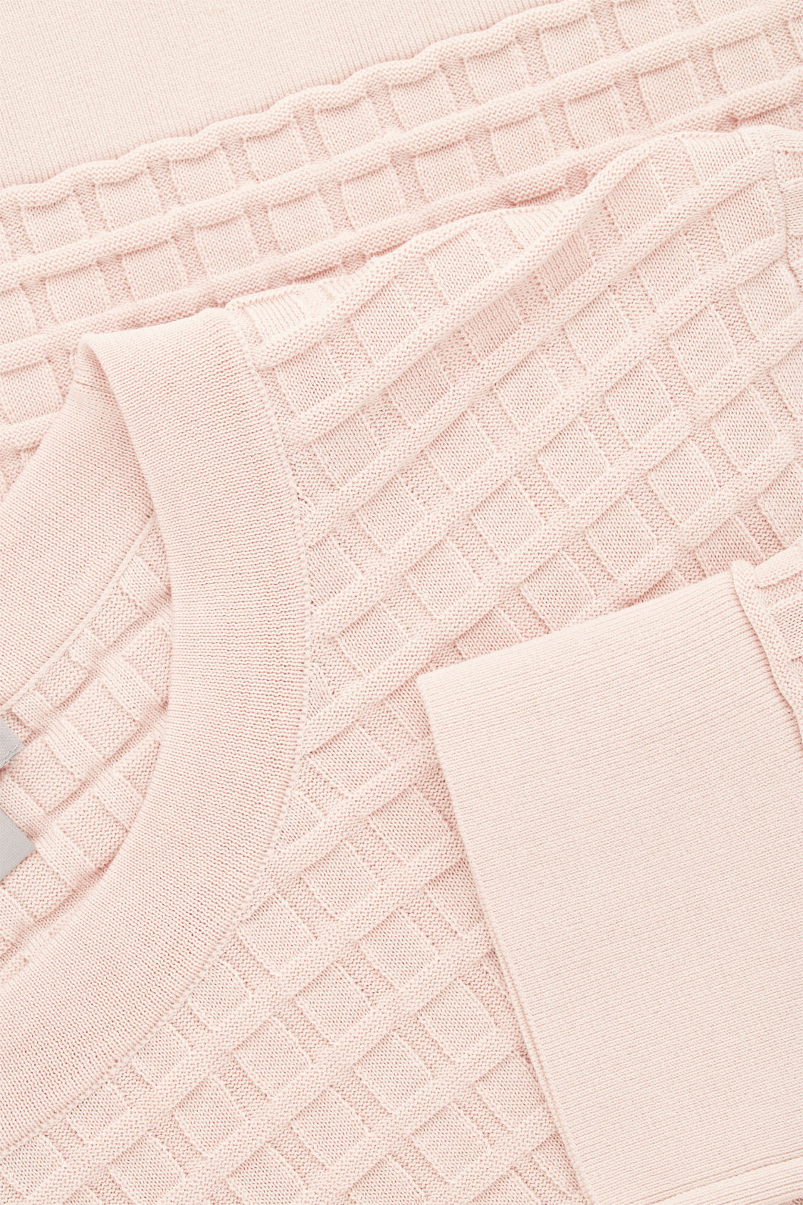 Side image of Cos waffle-stitch cotton jumper  in pink
