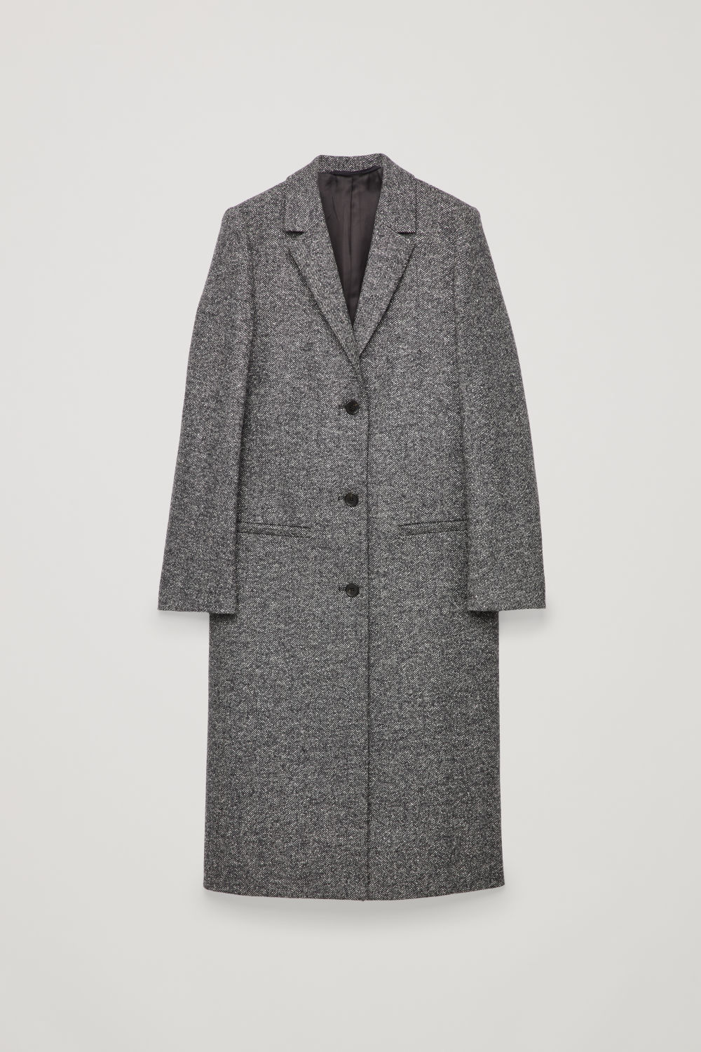 Front image of Cos long herringbone wool coat in grey