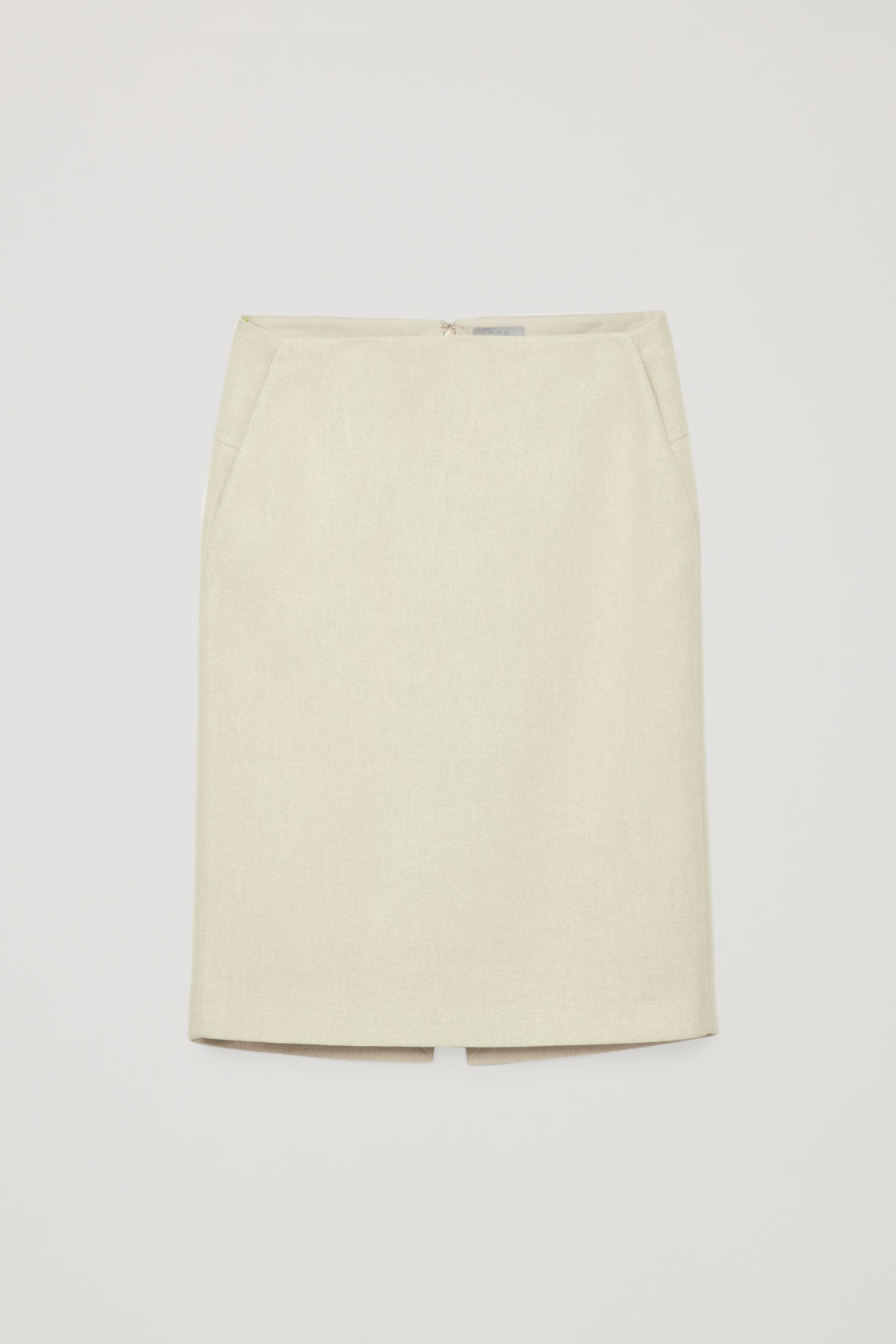 Front image of Cos padded pencil skirt with slit in beige