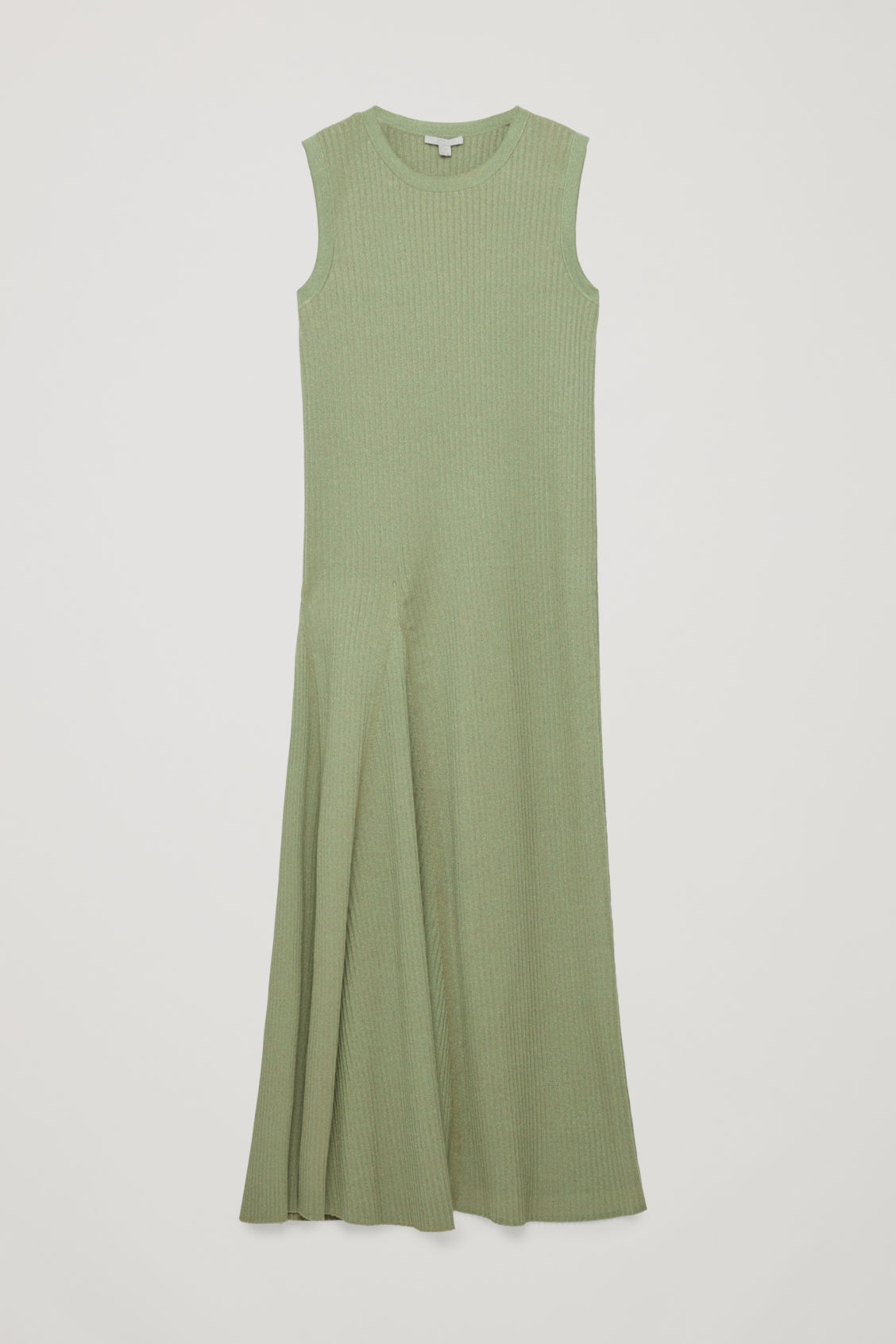 Front image of Cos sleeveless cotton-rib dress in green
