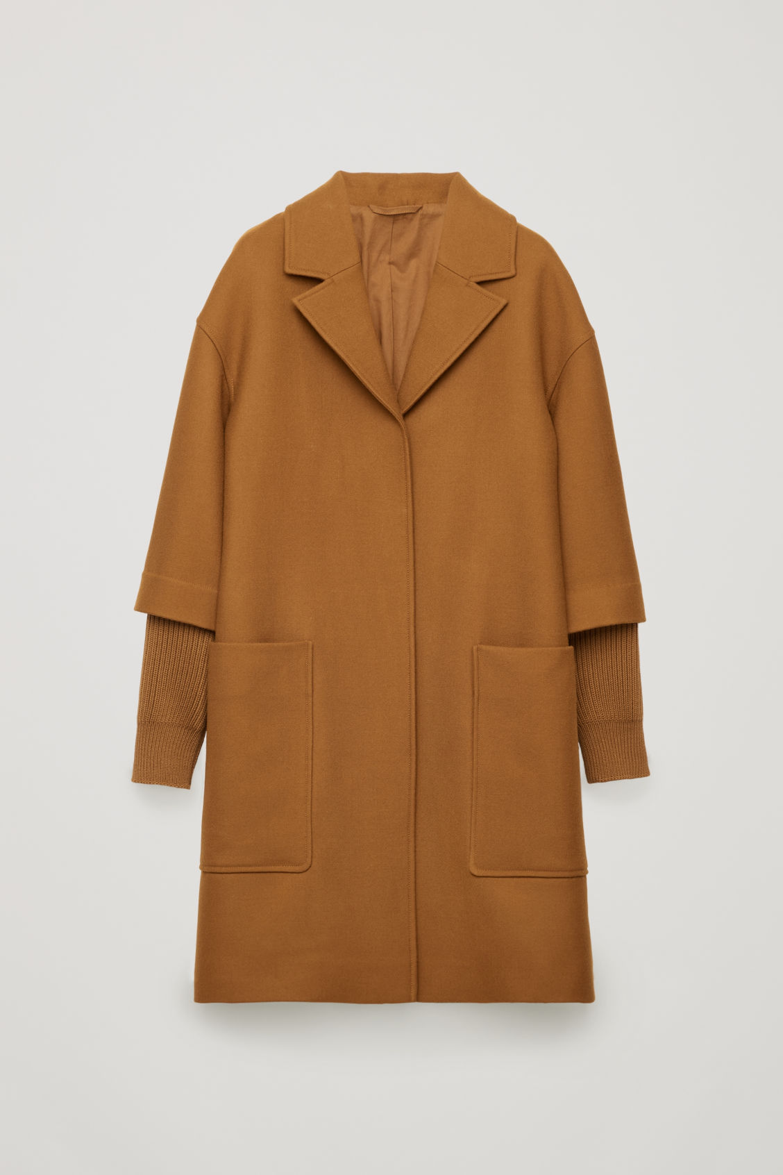 Front image of Cos rib knit-sleeved wool coat in brown