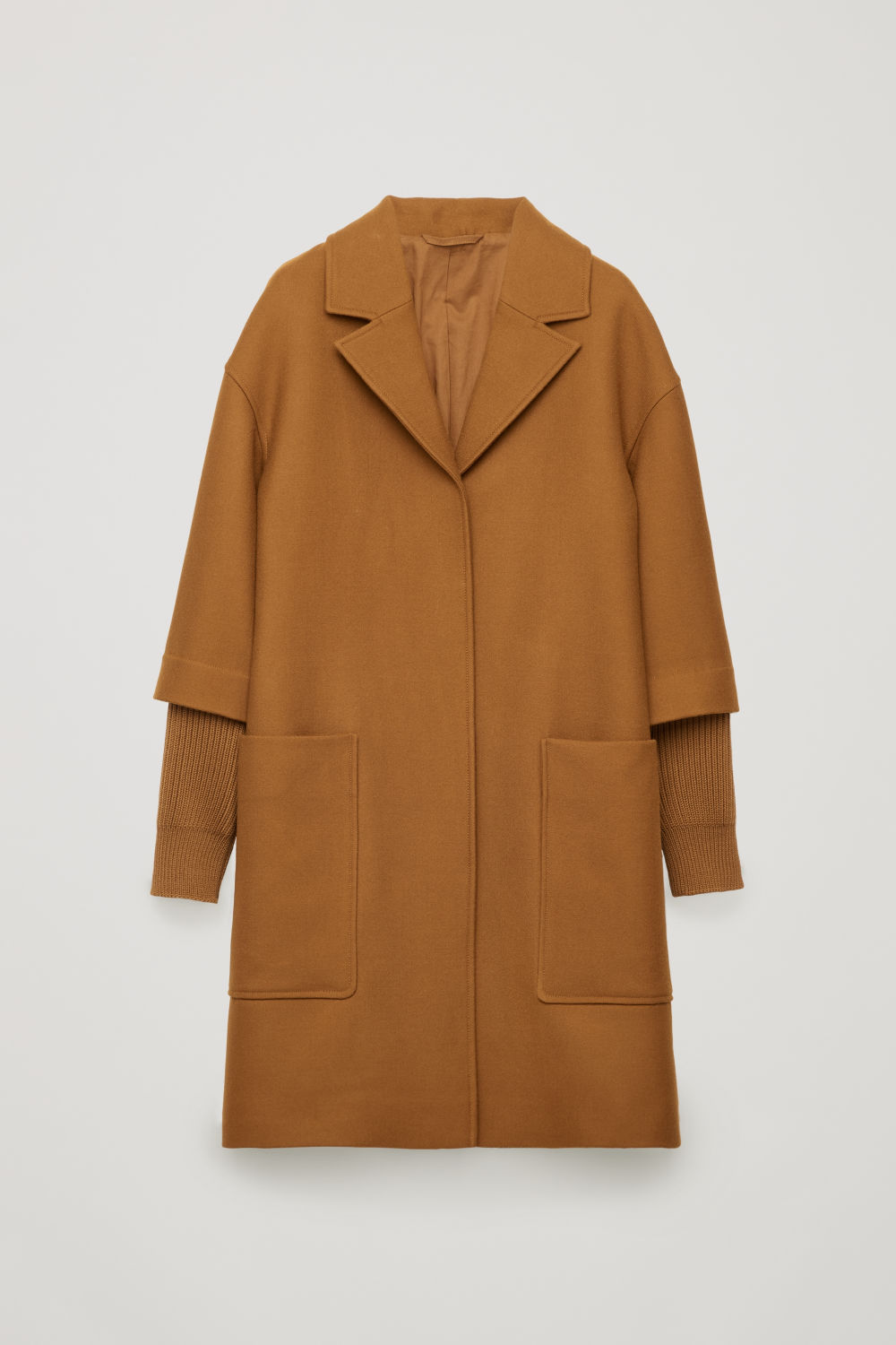 RIB KNIT-SLEEVED WOOL COAT