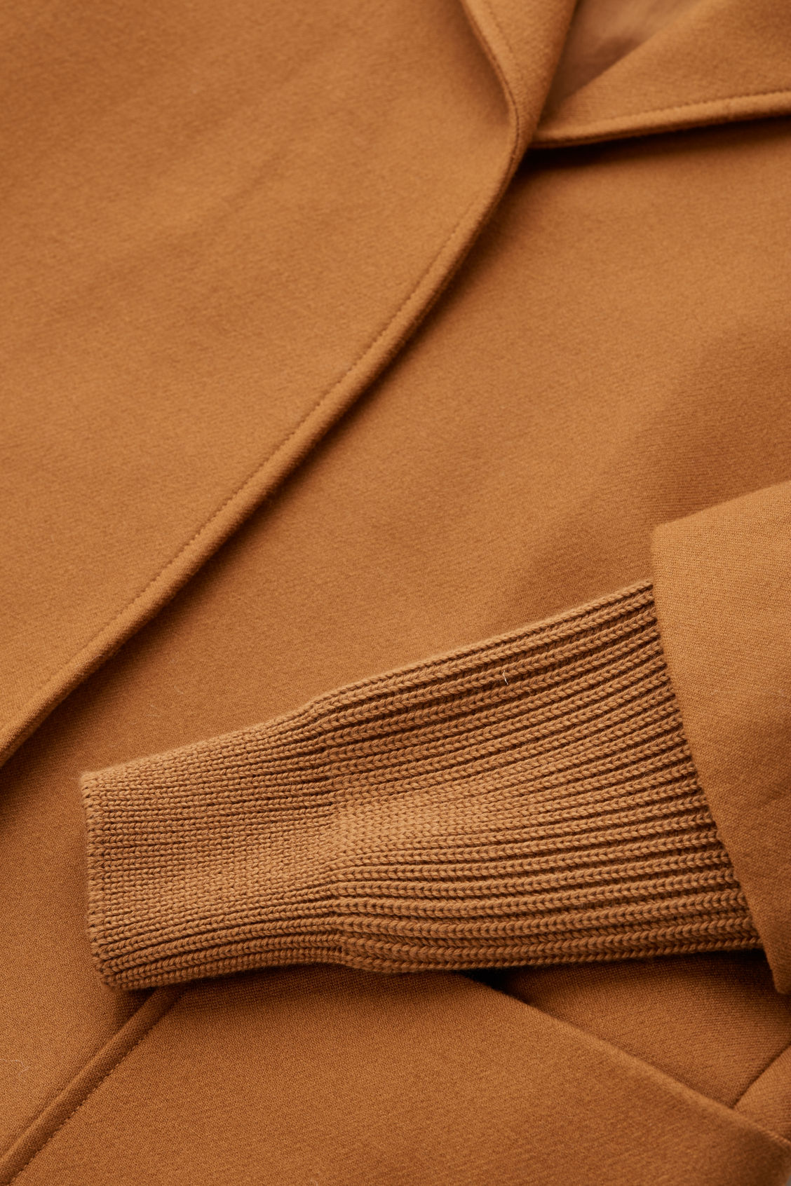 Side image of Cos rib knit-sleeved wool coat in brown