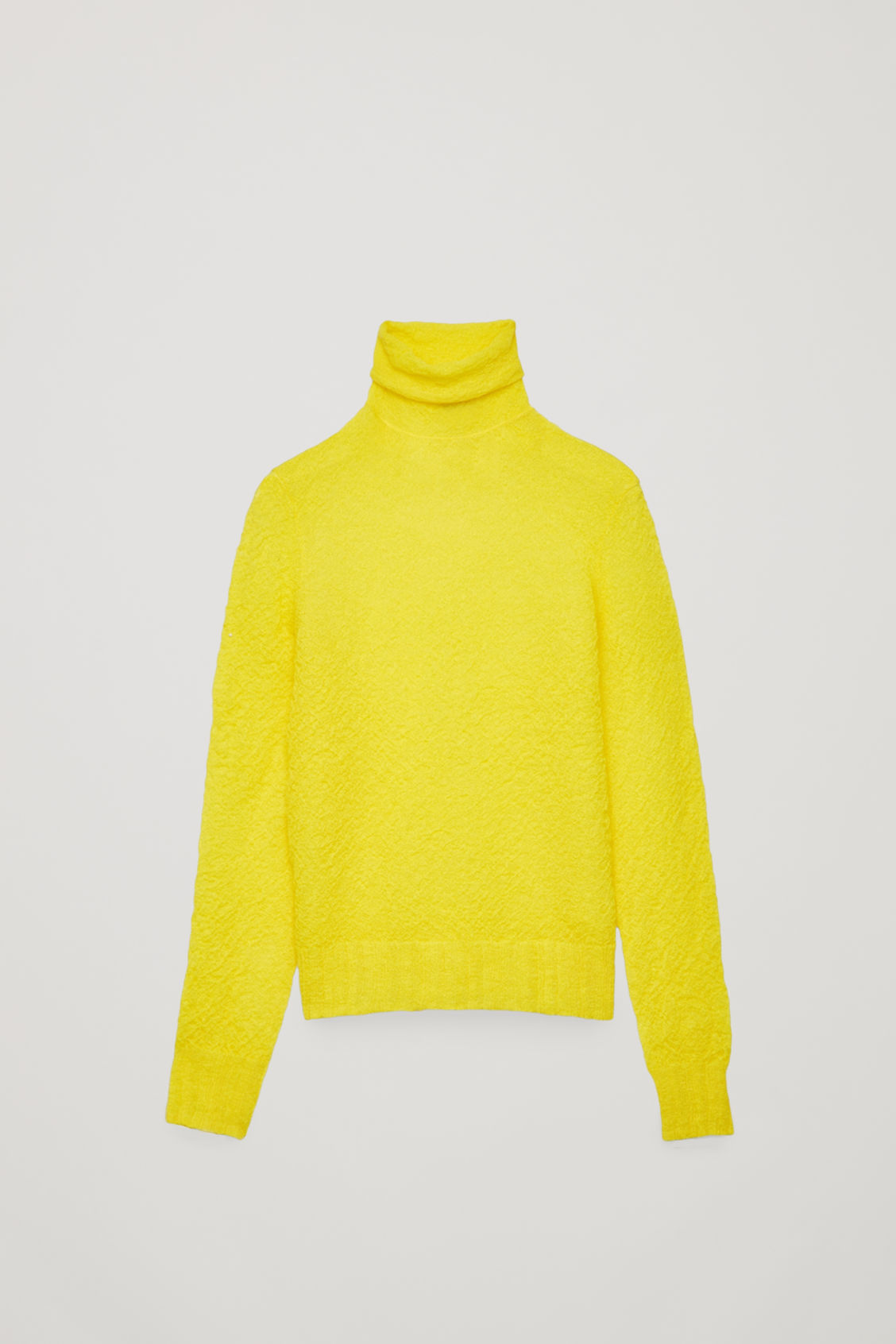 Front image of Cos crinkled rib-knit top  in yellow