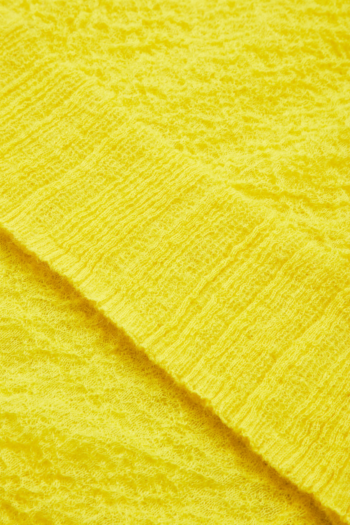 Side image of Cos crinkled rib-knit top  in yellow