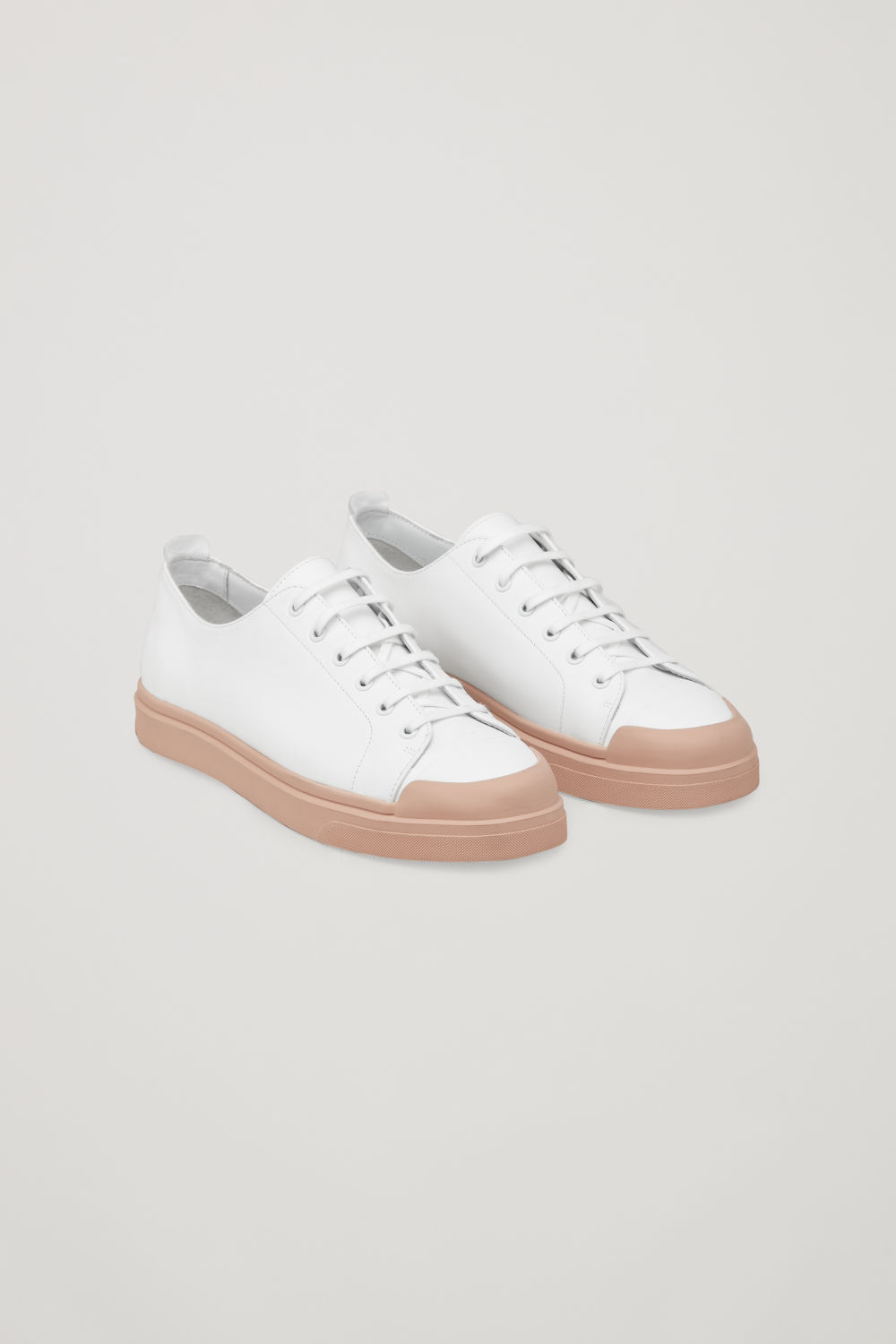 Front image of Cos leather sneakers in white