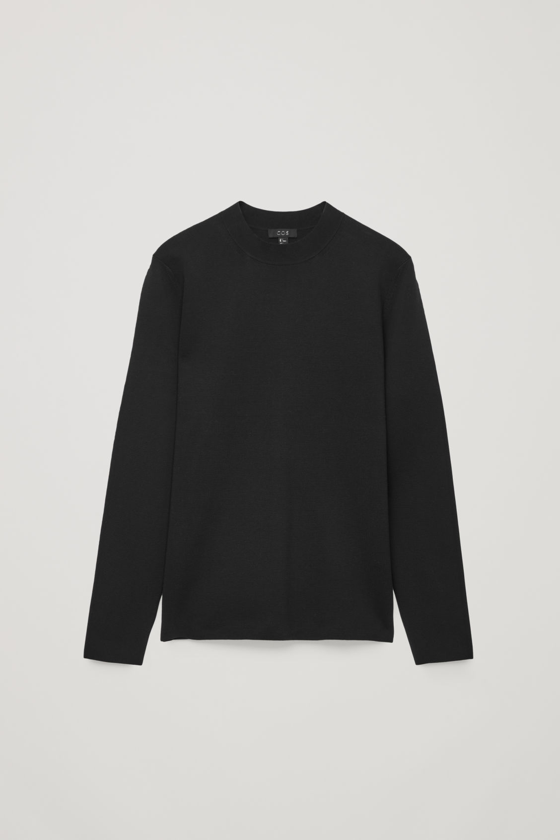 Front image of Cos mock-neck knitted jumper in black