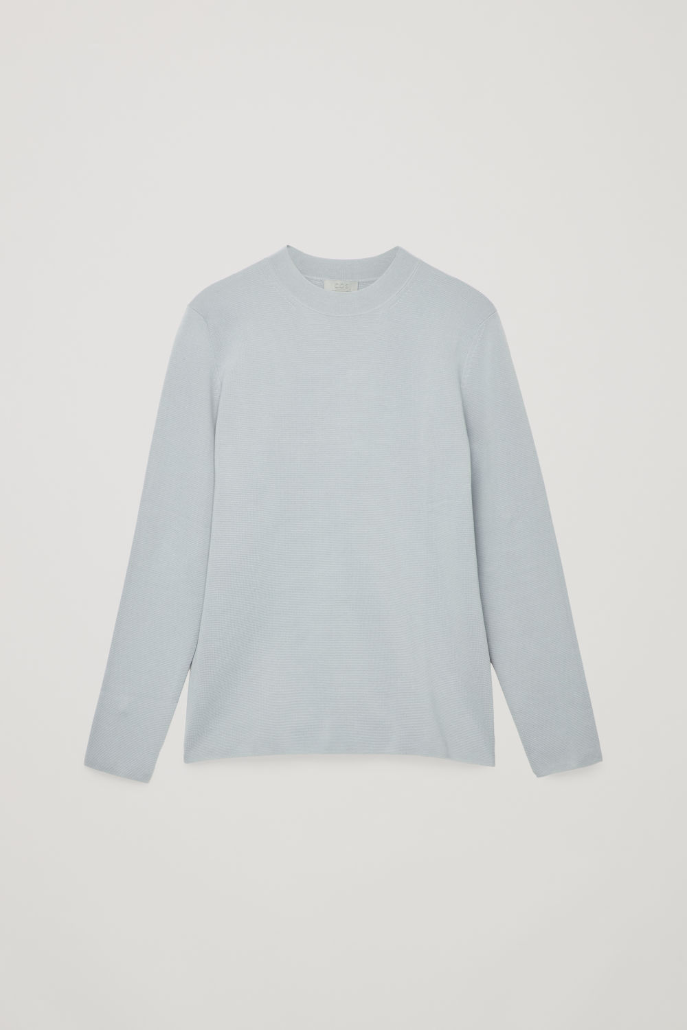 Front image of Cos mock-neck knitted jumper in grey