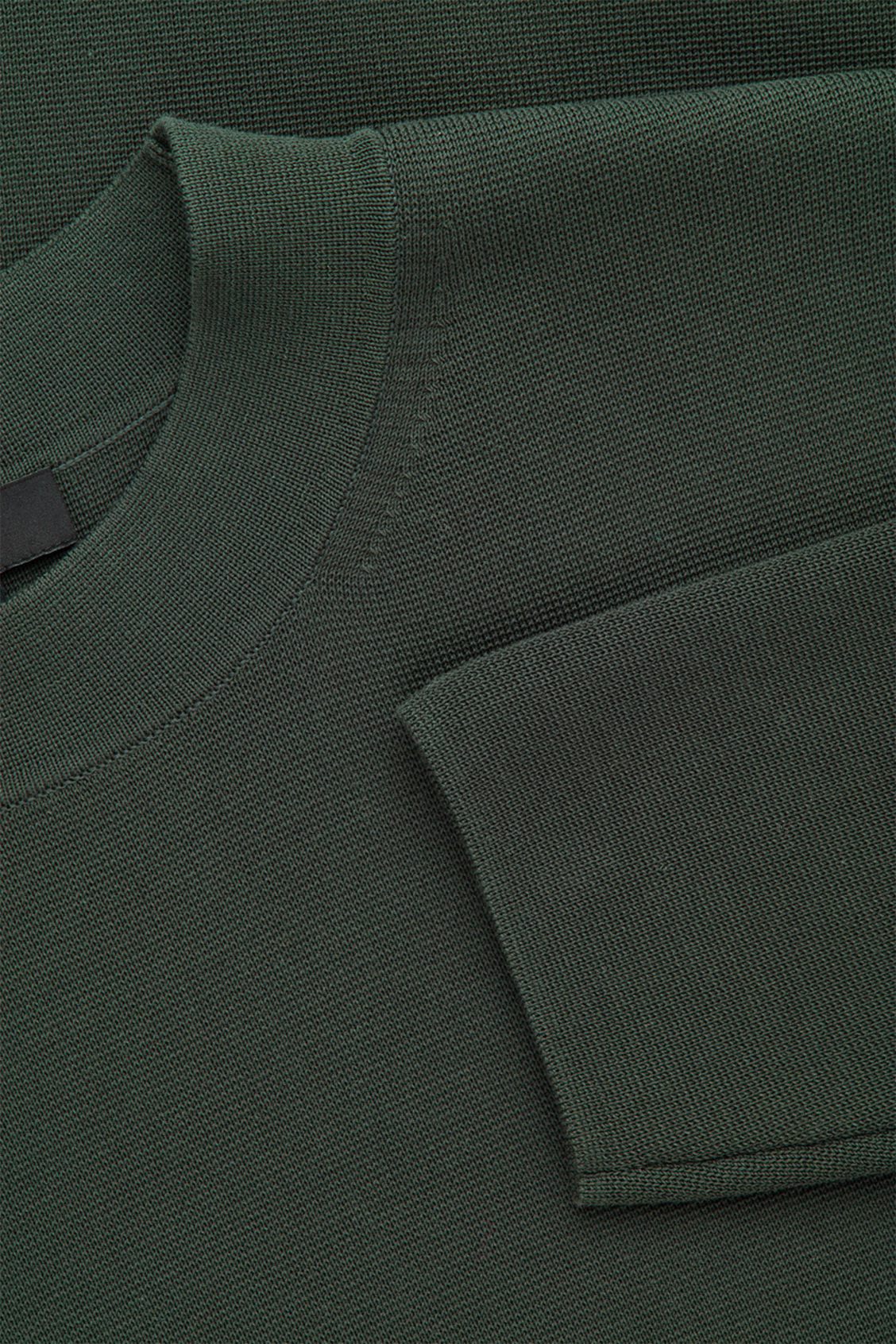 Side image of Cos mock-neck knitted jumper in green
