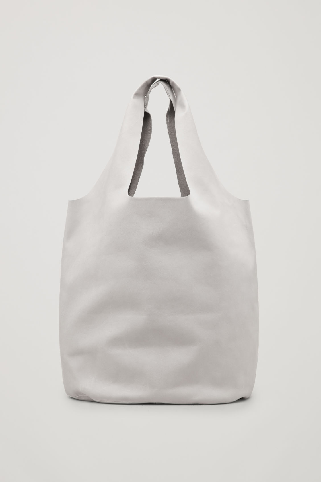 Front image of Cos soft leather tote bag in brown