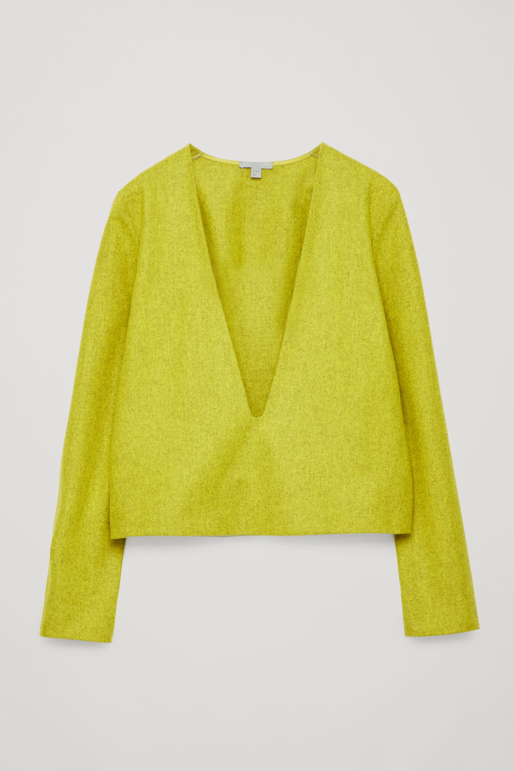 Front image of Cos deep v-neck wool top in yellow
