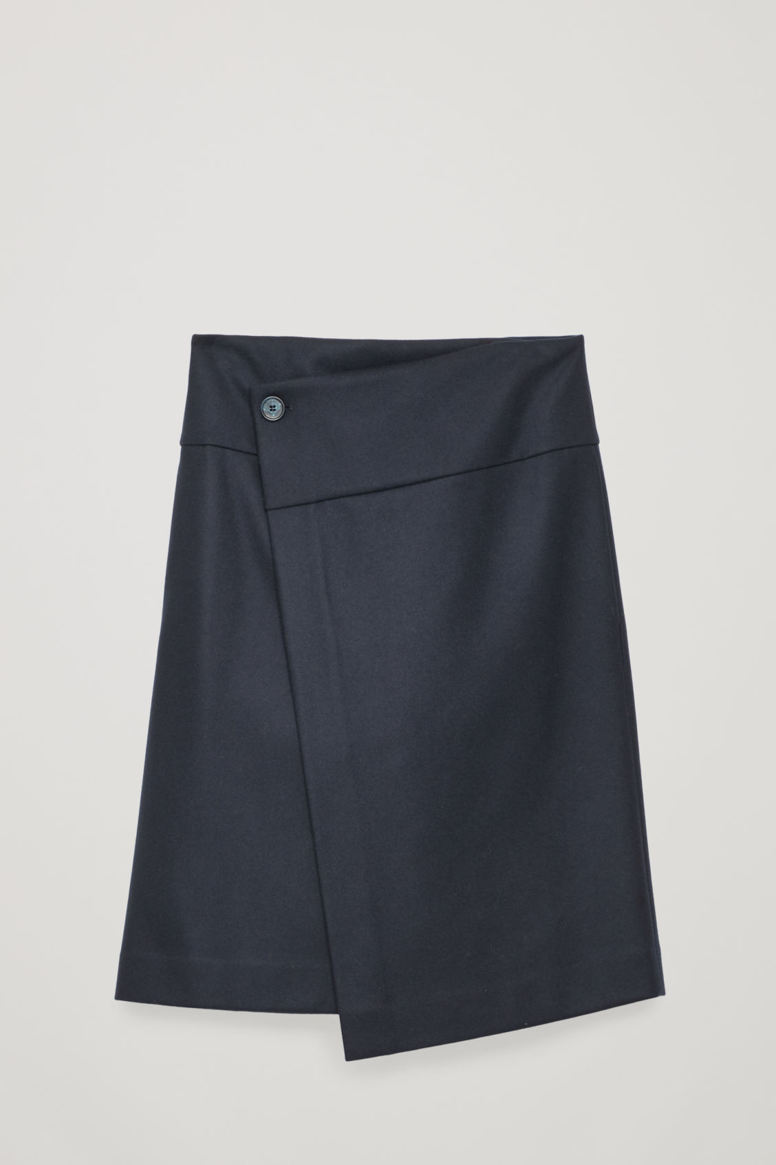 Front image of Cos a-line wrap skirt in blue