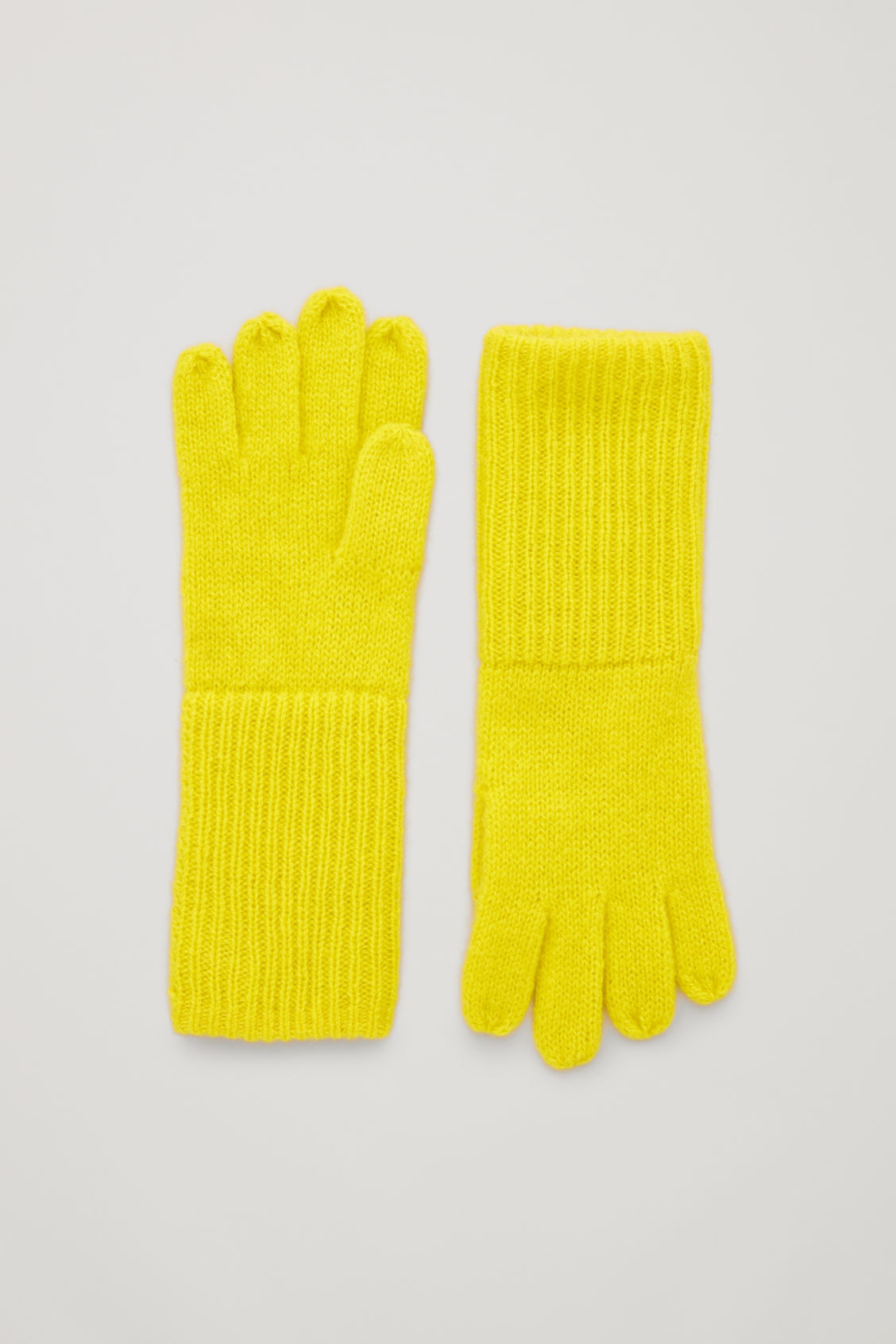 Front image of Cos cashmere gloves in yellow