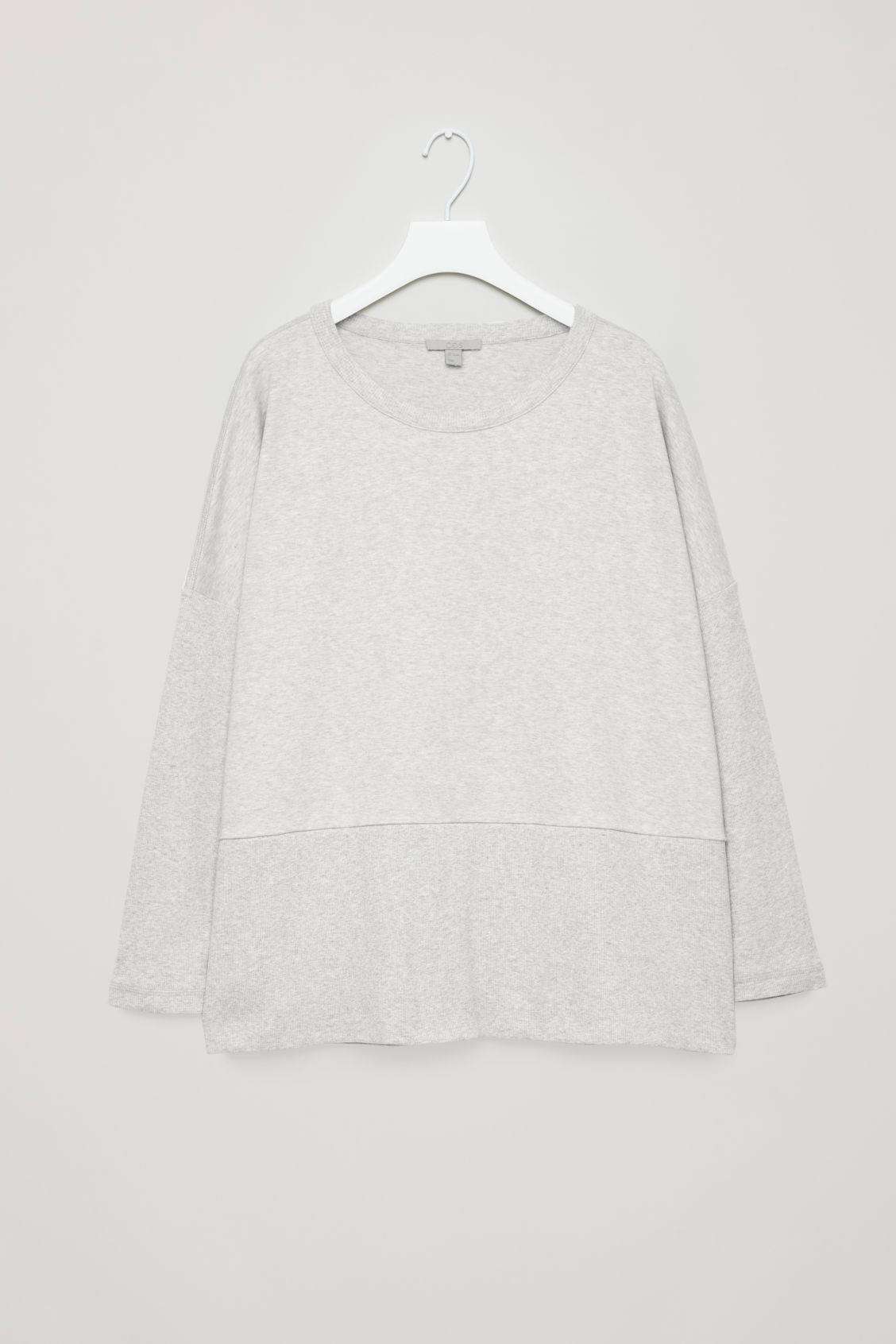Front image of Cos cocoon ribbed-jersey top in grey