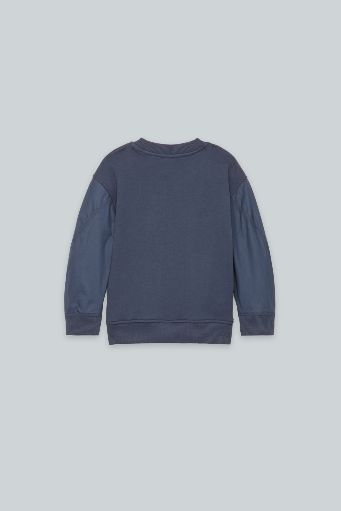 Side image of Cos woven-jersey mix jumper in blue