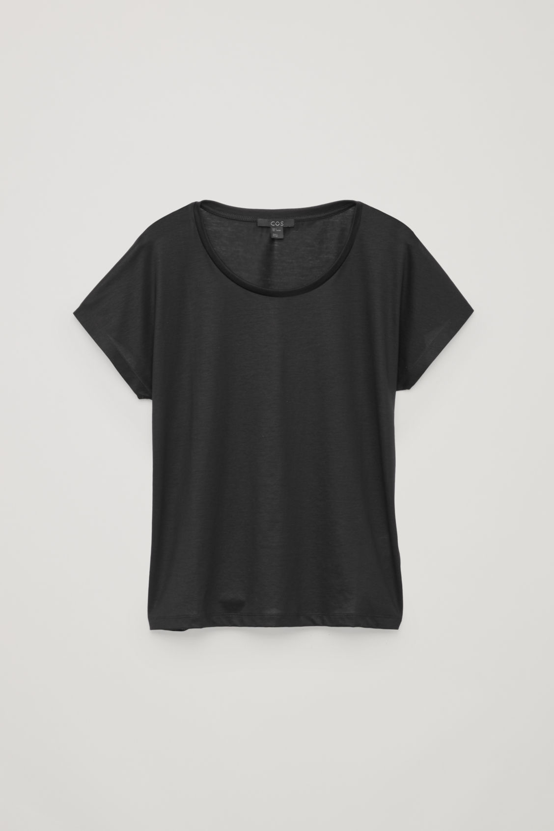 Front image of Cos slim-fit mercerised cotton t-shirt in black