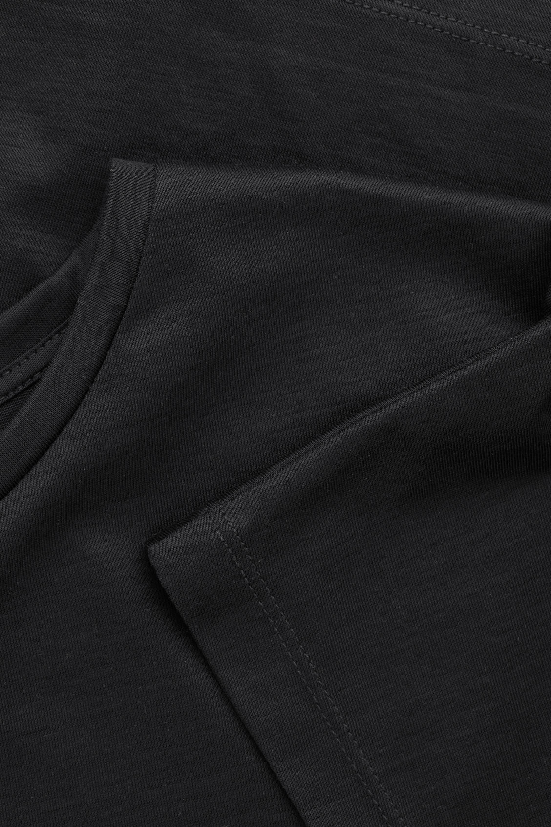 Side image of Cos slim-fit mercerised cotton t-shirt in black
