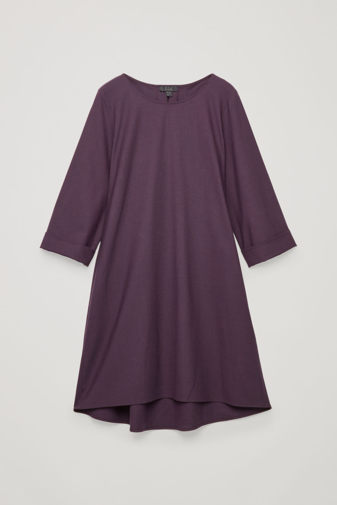Front image of Cos wool dress with turn-up cuffs  in purple