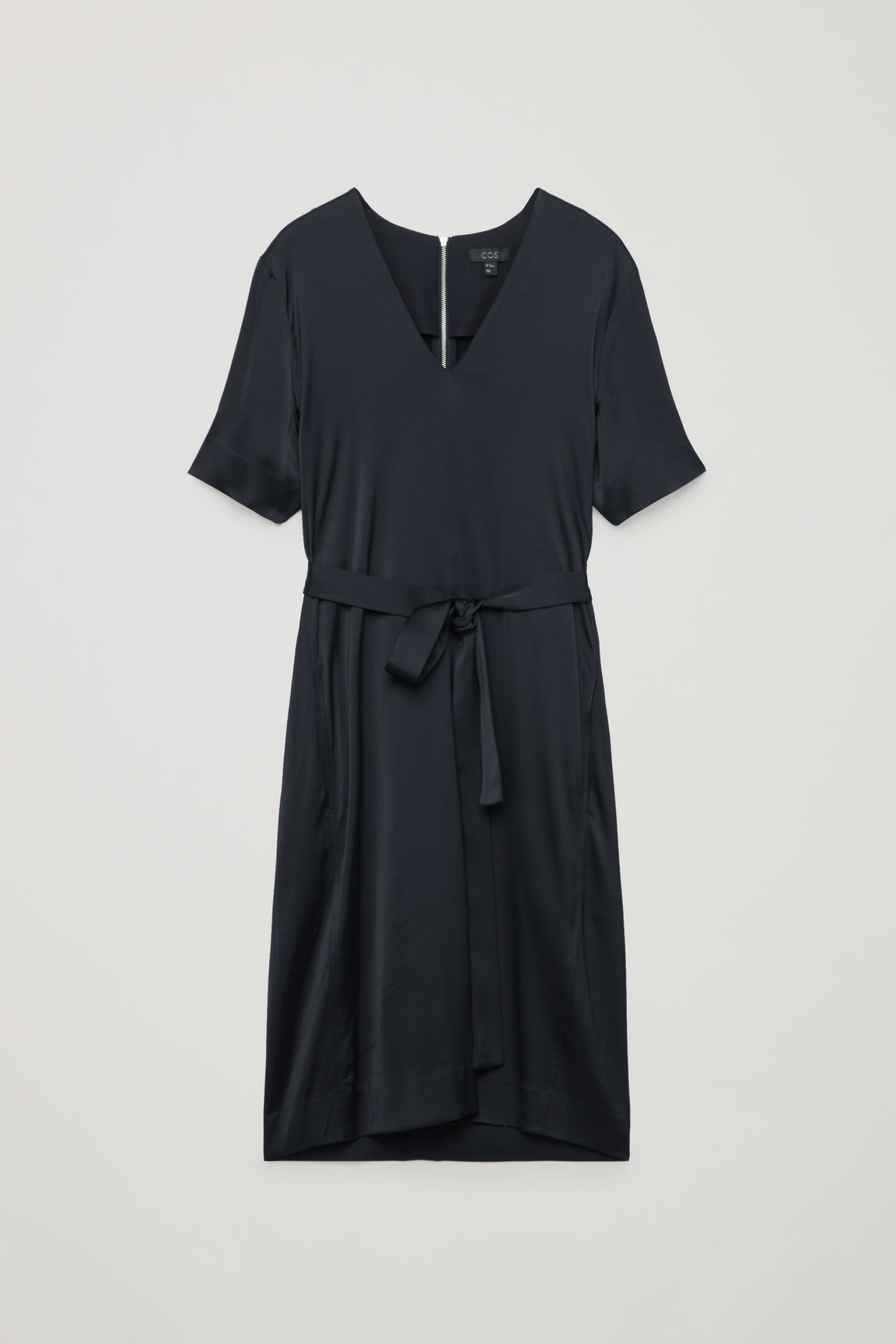 Front image of Cos v-neck dress with belt in blue