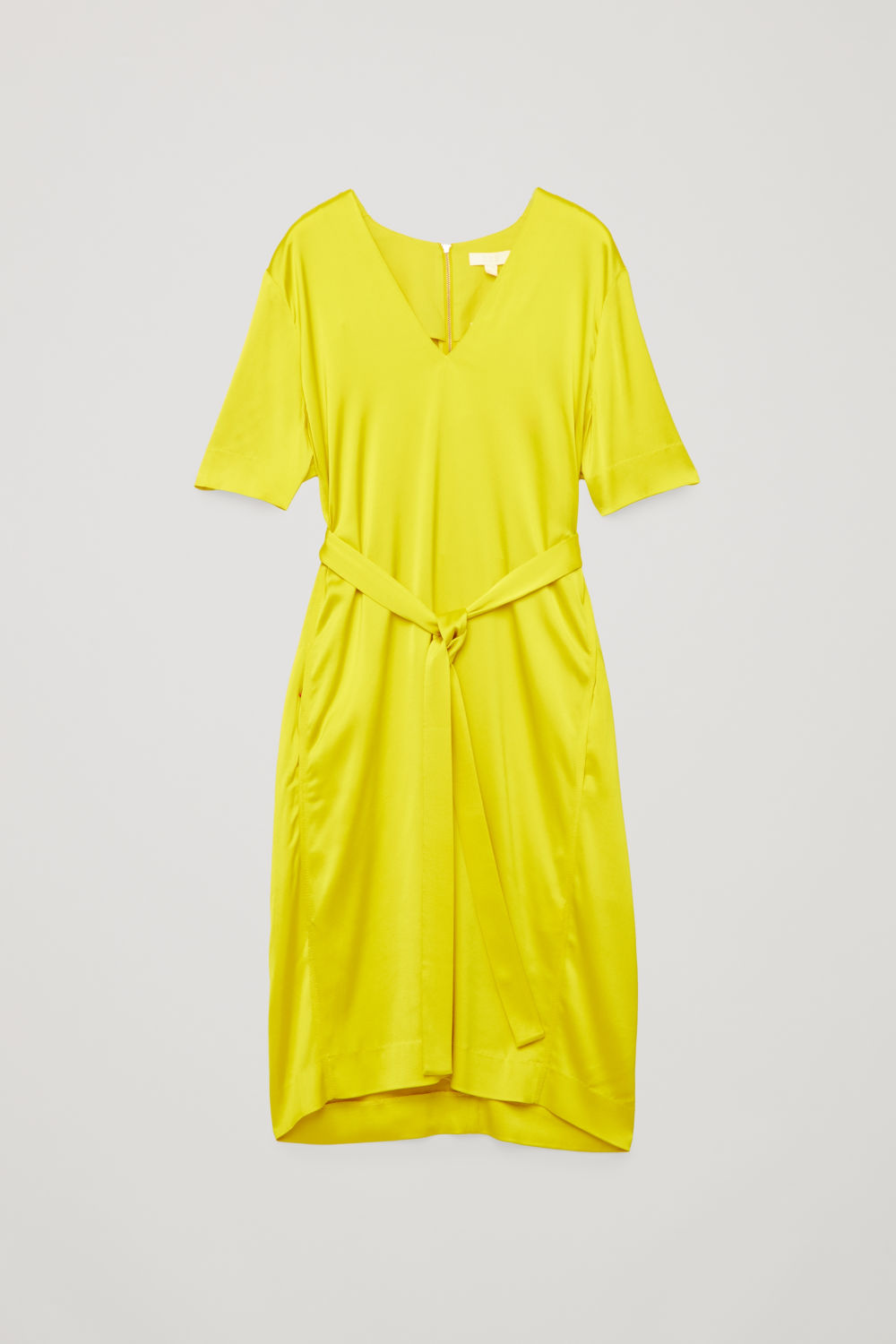 Front image of Cos v-neck dress with belt in yellow