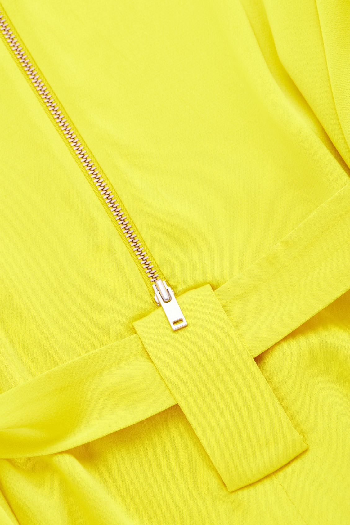 Side image of Cos v-neck dress with belt in yellow