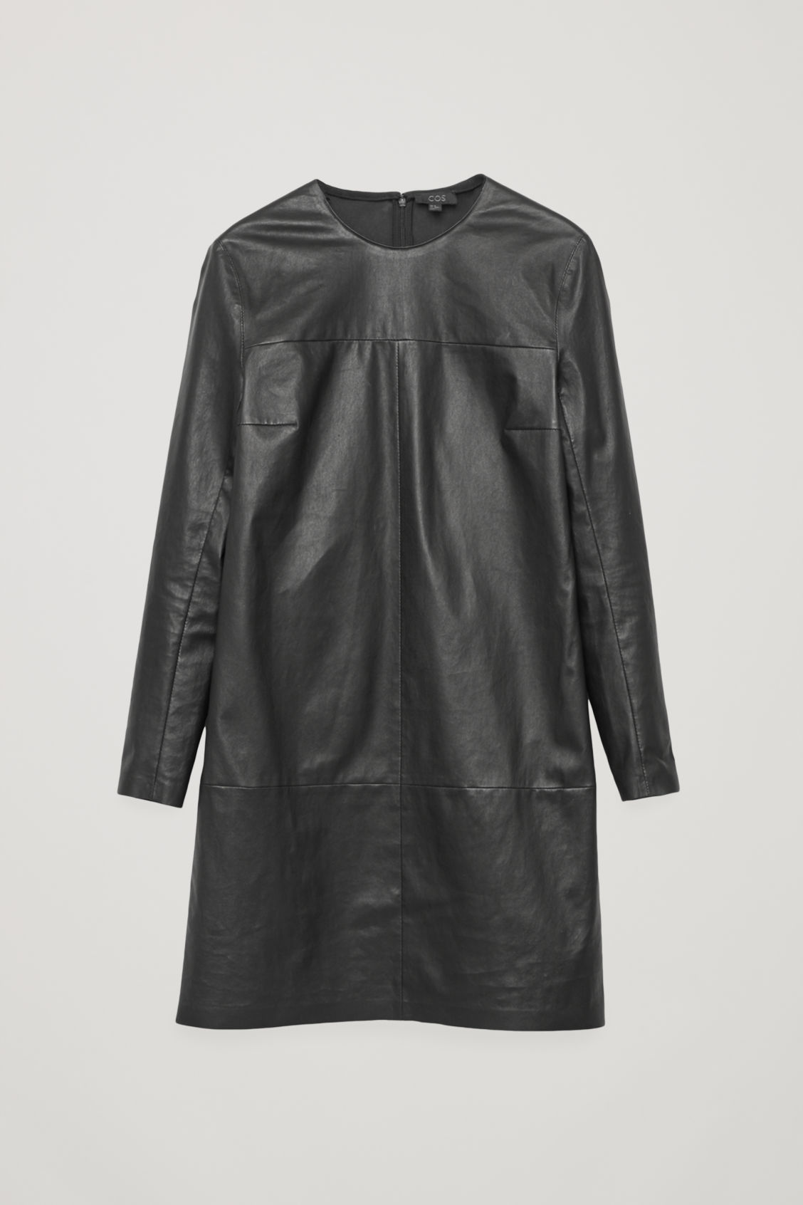 Front image of Cos long-sleeved leather dress in black
