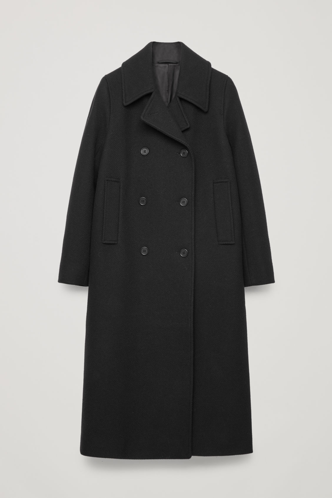 Front image of Cos long wool pea coat in black