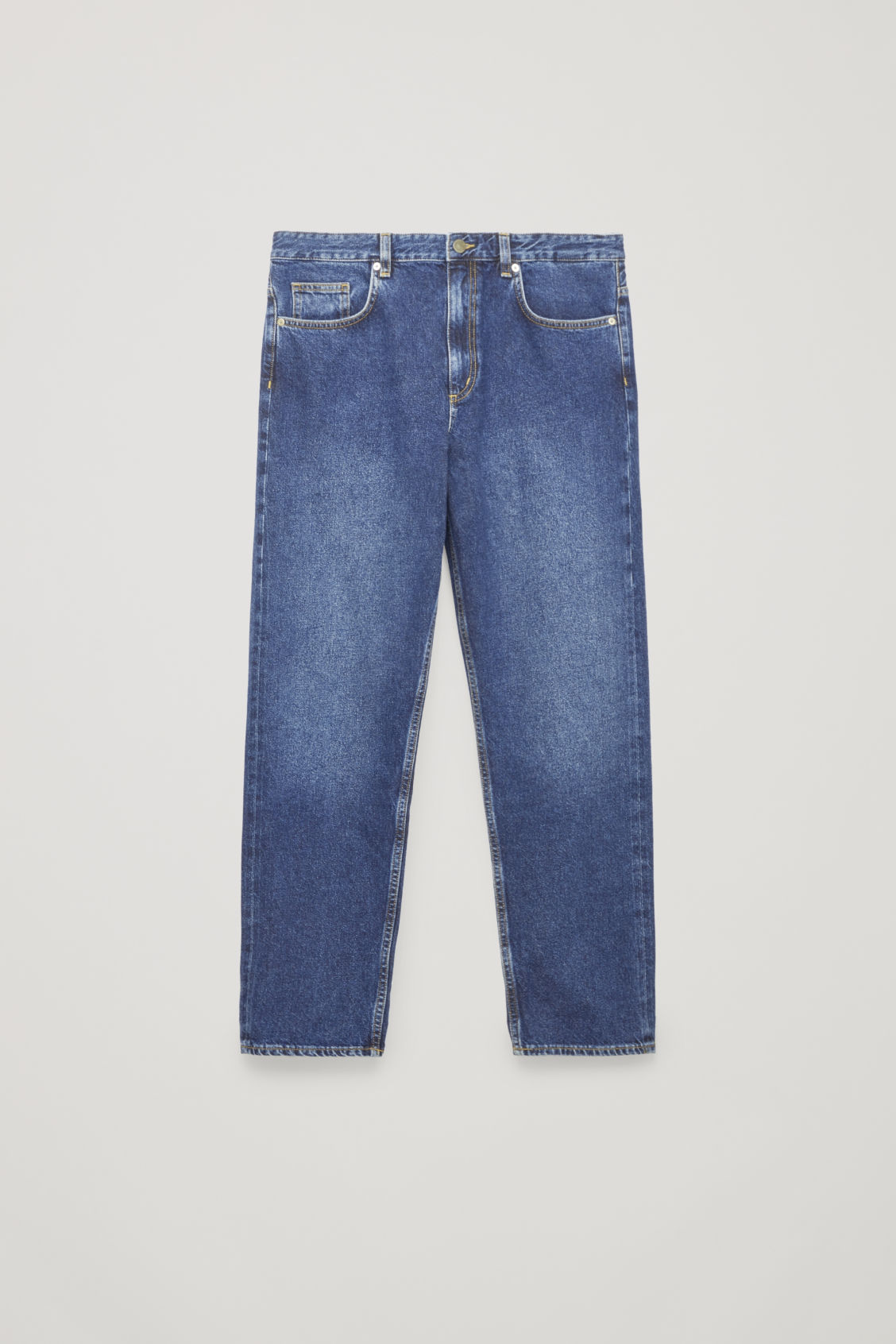 Front image of Cos selvedge straight-leg jeans in blue