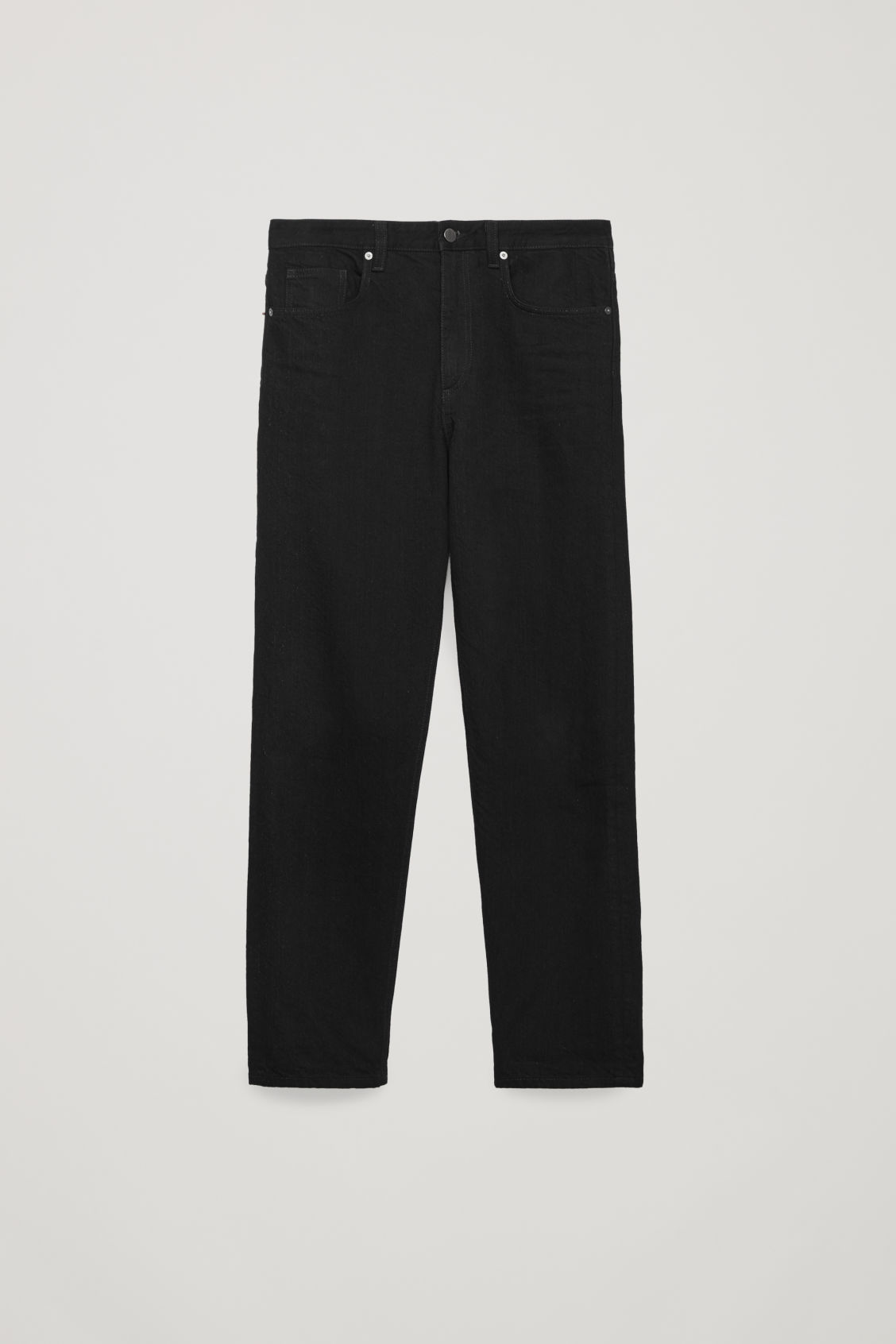 Front image of Cos 28 inch selvedge relaxed leg jeans in black
