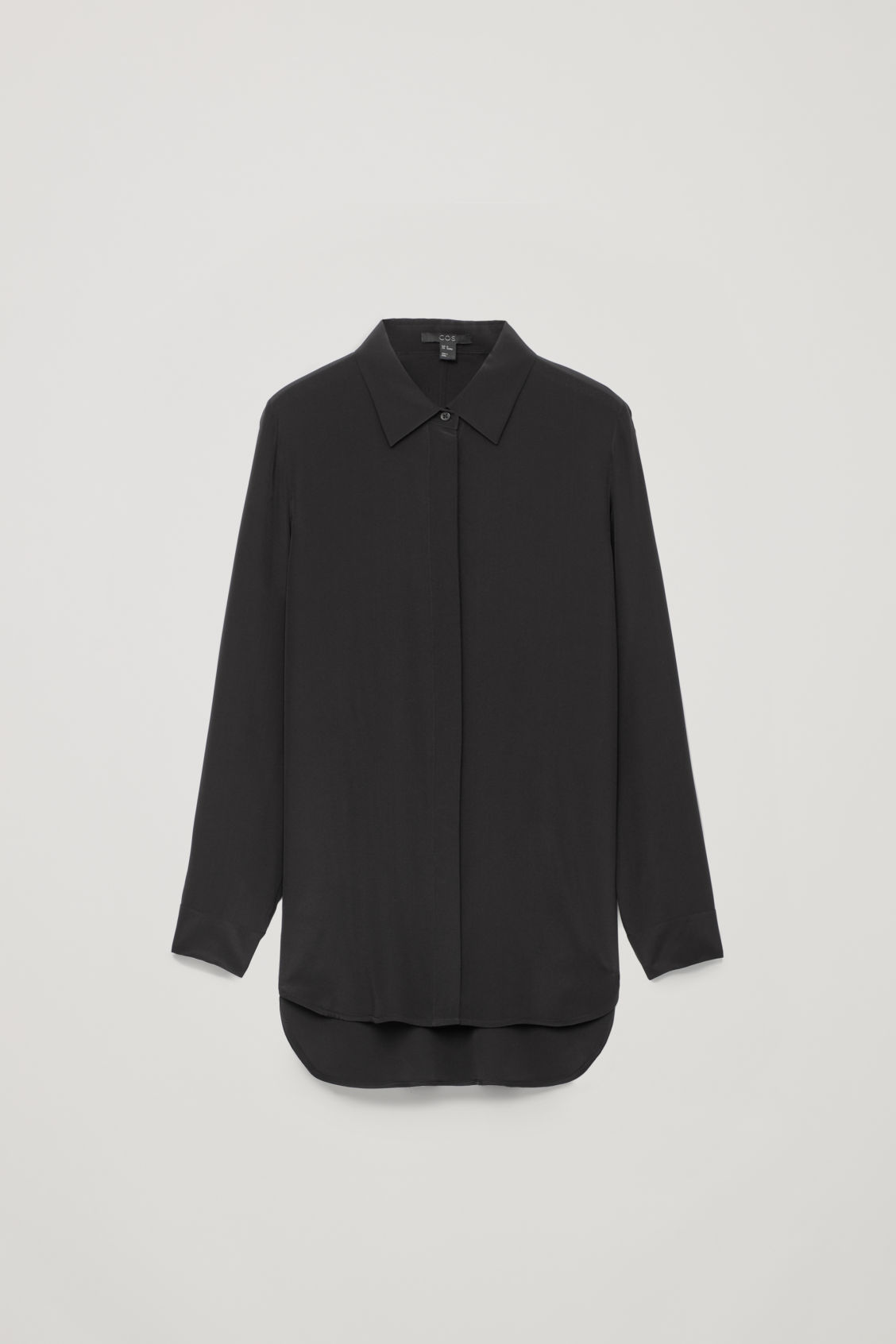 Front image of Cos long cocoon silk shirt in black