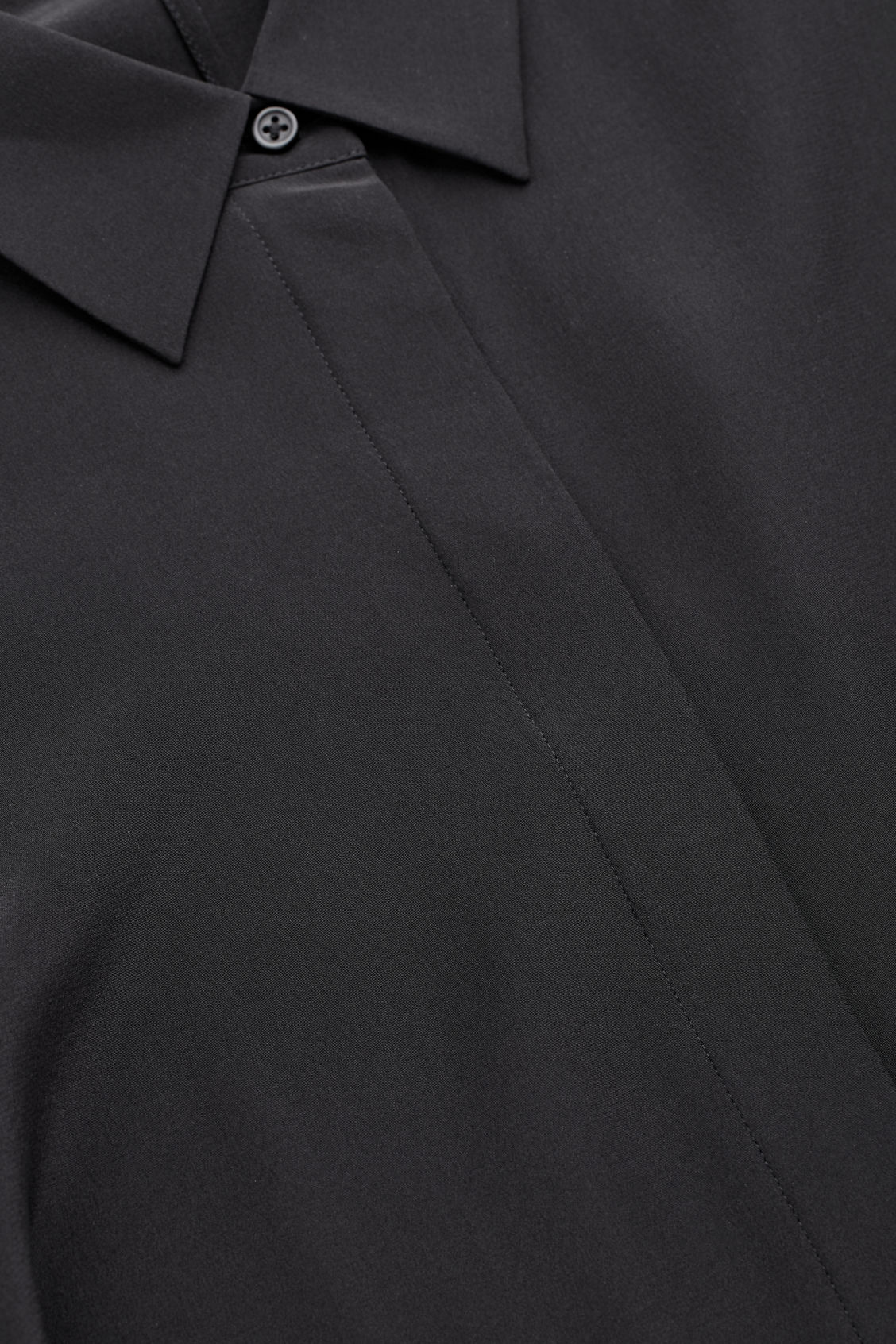 Side image of Cos long cocoon silk shirt in black