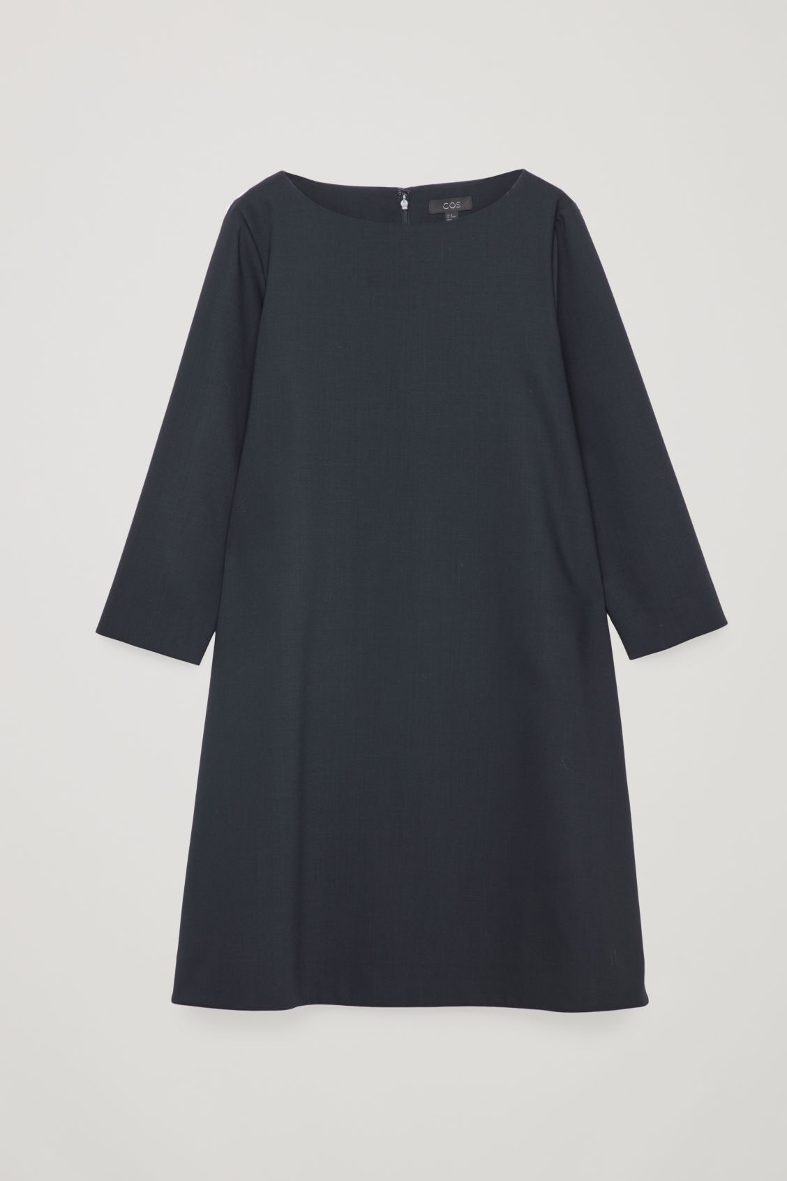 Front image of Cos wide-neck a-line wool dress in blue
