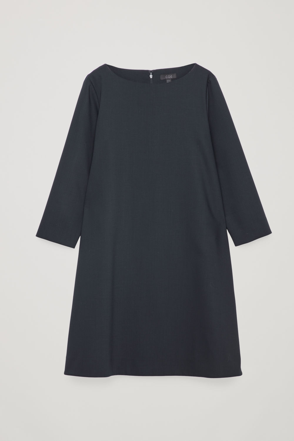 WIDE-NECK A-LINE WOOL DRESS