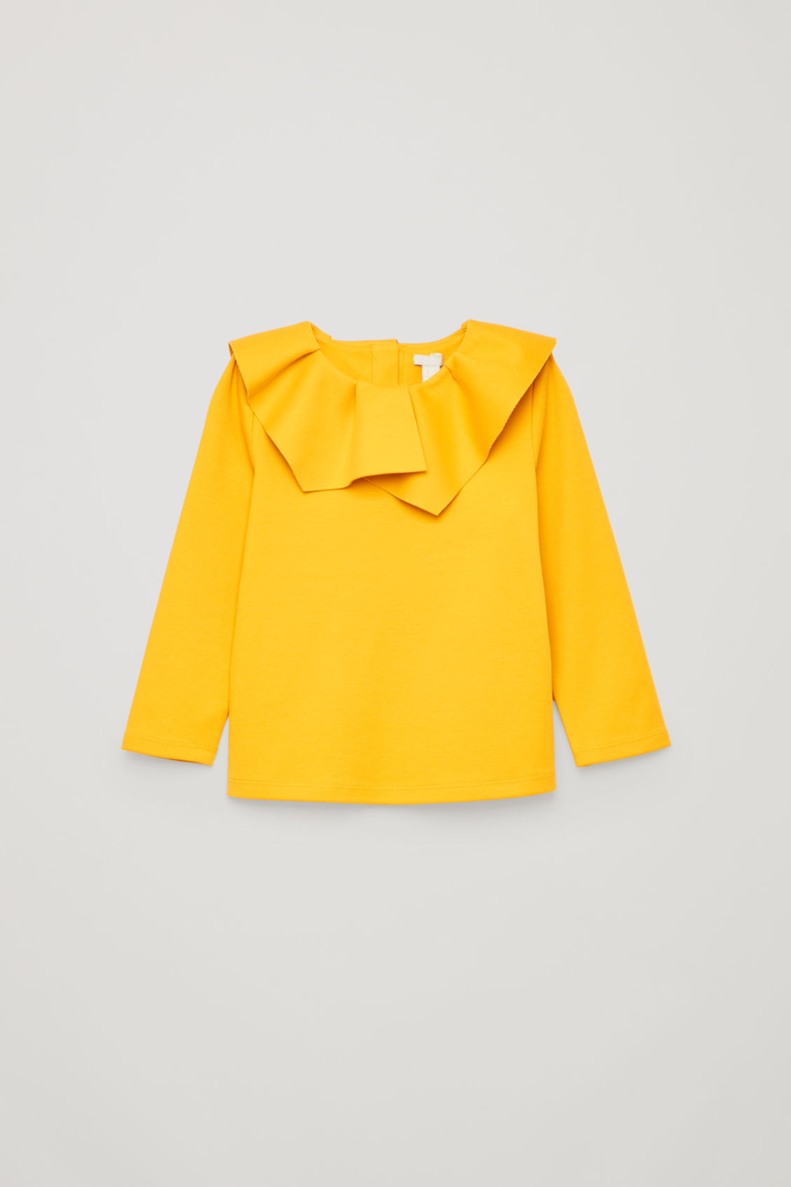 Front image of Cos pleated-neck jersey top in yellow