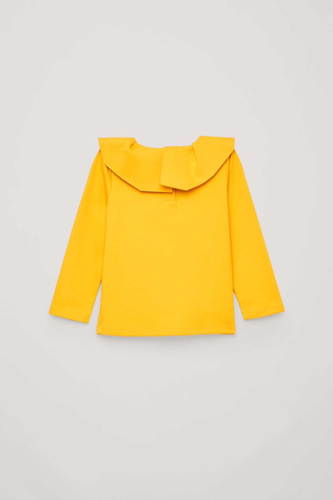 Side image of Cos pleated-neck jersey top in yellow